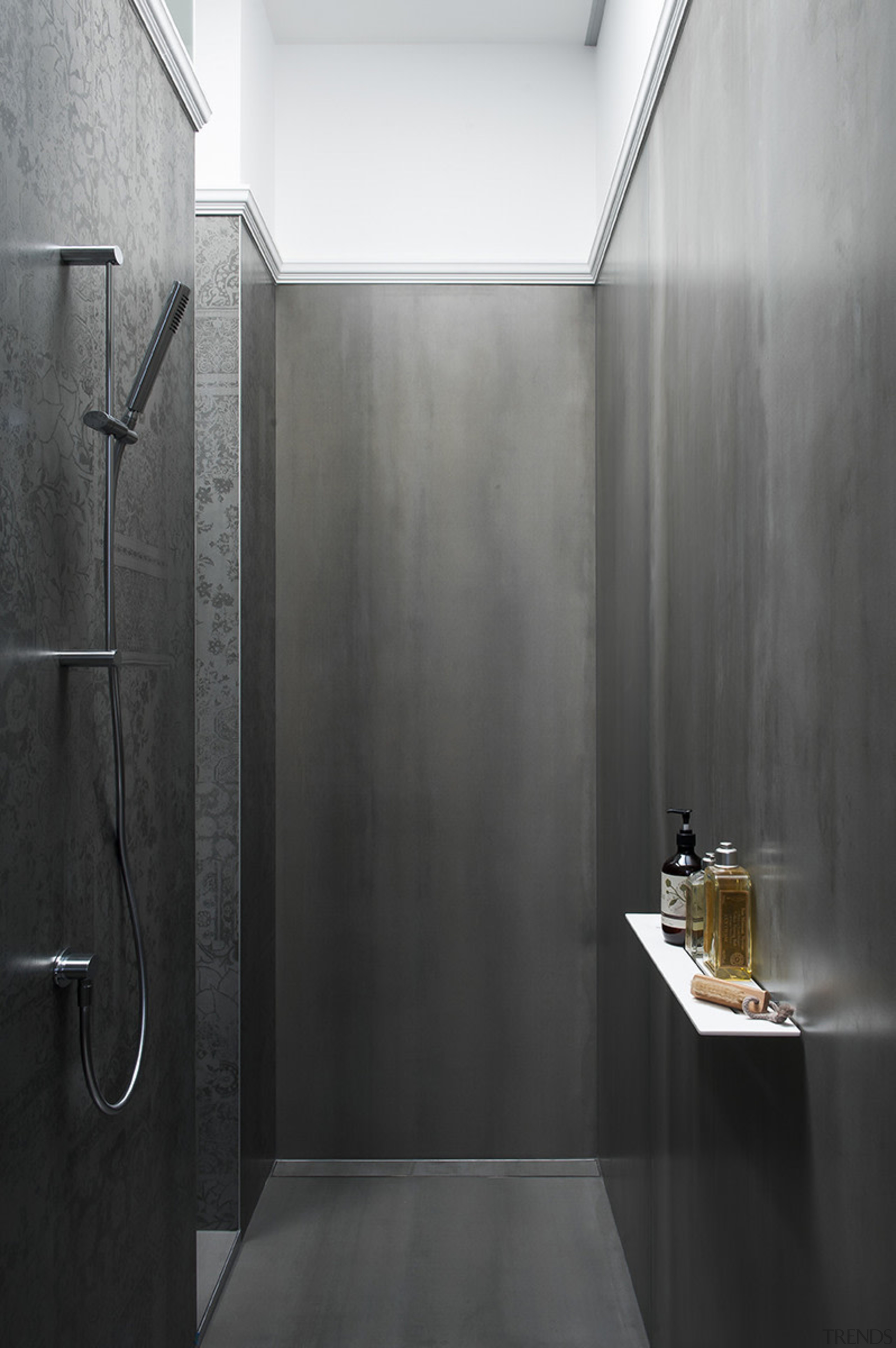 This understated shower zone gains drama from its architecture, bathroom, daylighting, floor, interior design, plumbing fixture, wall, black, gray