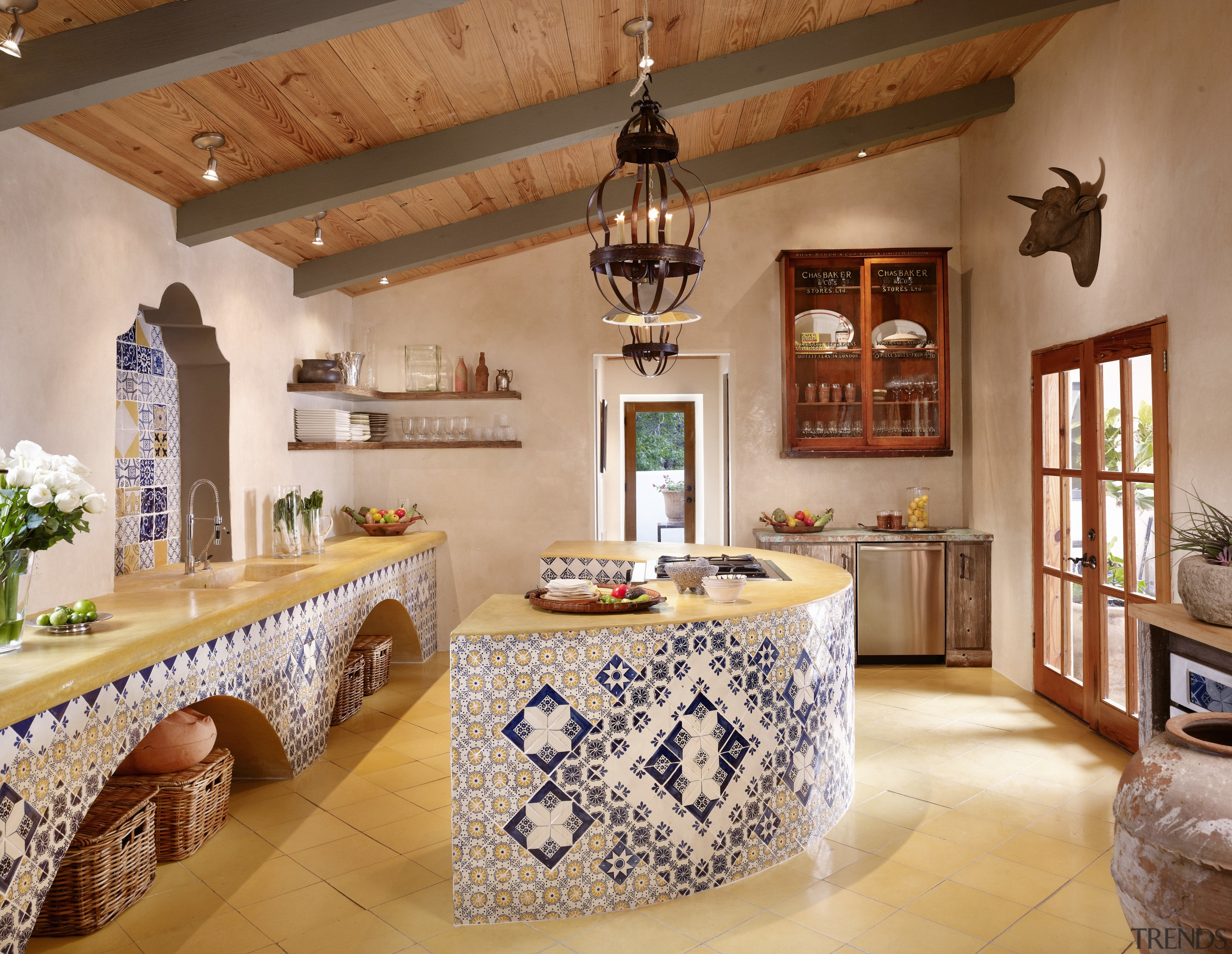 View of Spanish style kitchen with tile ceiling, countertop, estate, home, interior design, kitchen, real estate, room, orange, brown