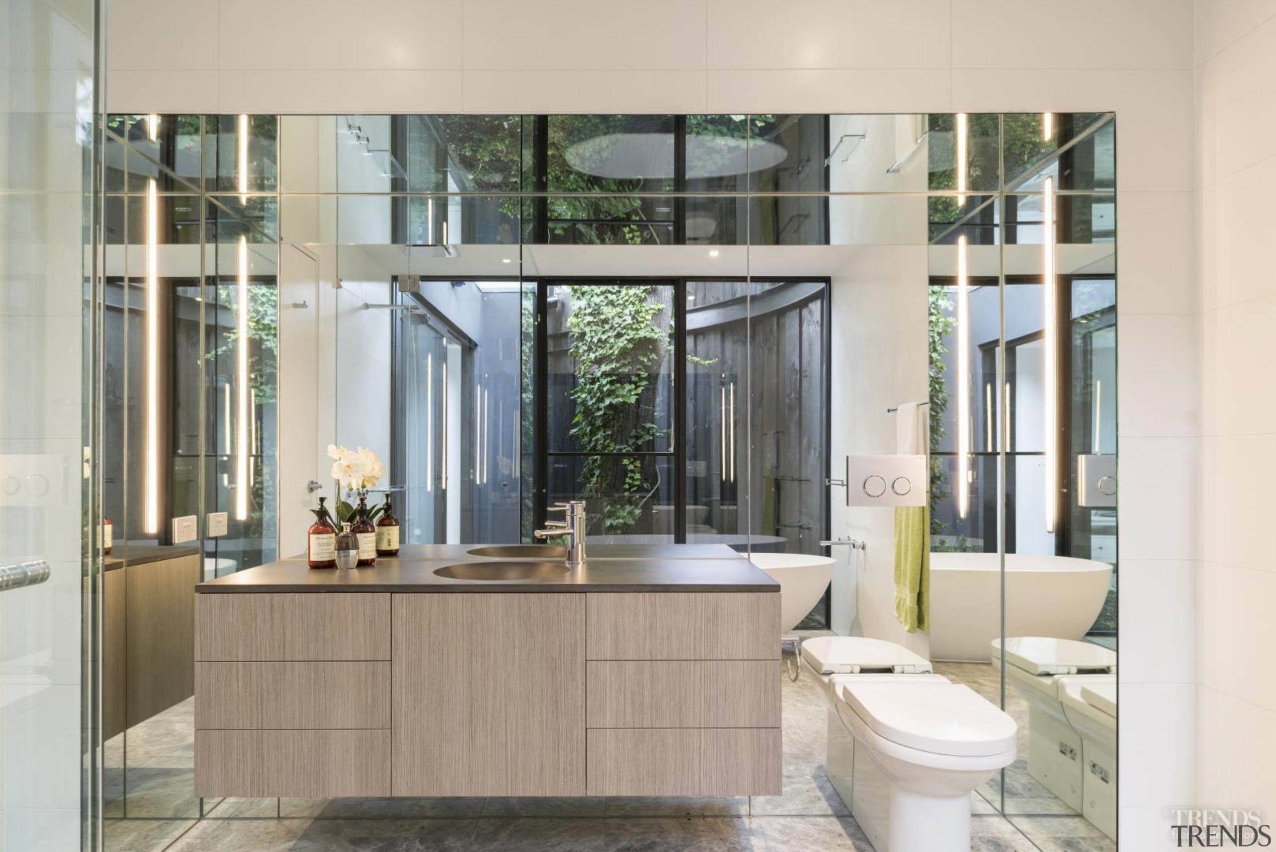 Look twice – most of this image is bathroom, interior design, window, gray