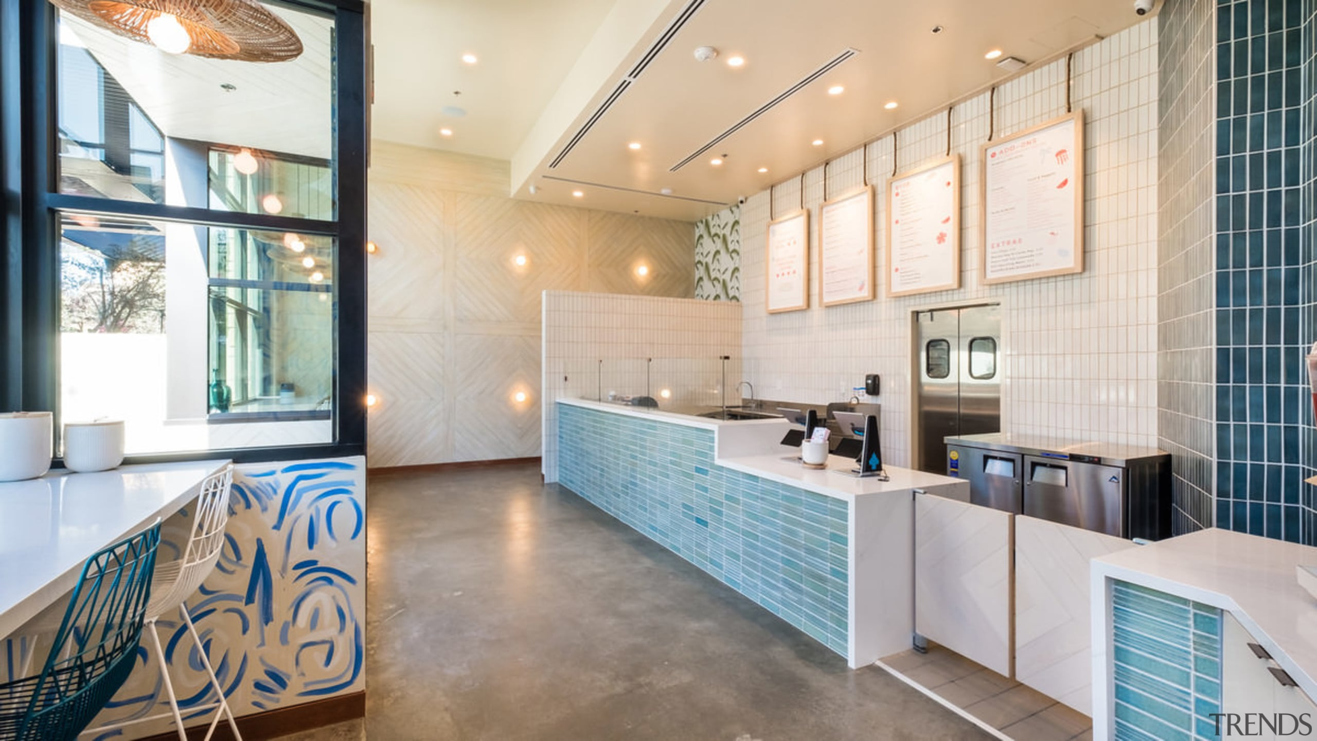 Sweetfin Poke San Diego – Mayes Office - ceiling, floor, flooring, interior design, lobby, real estate, room, white