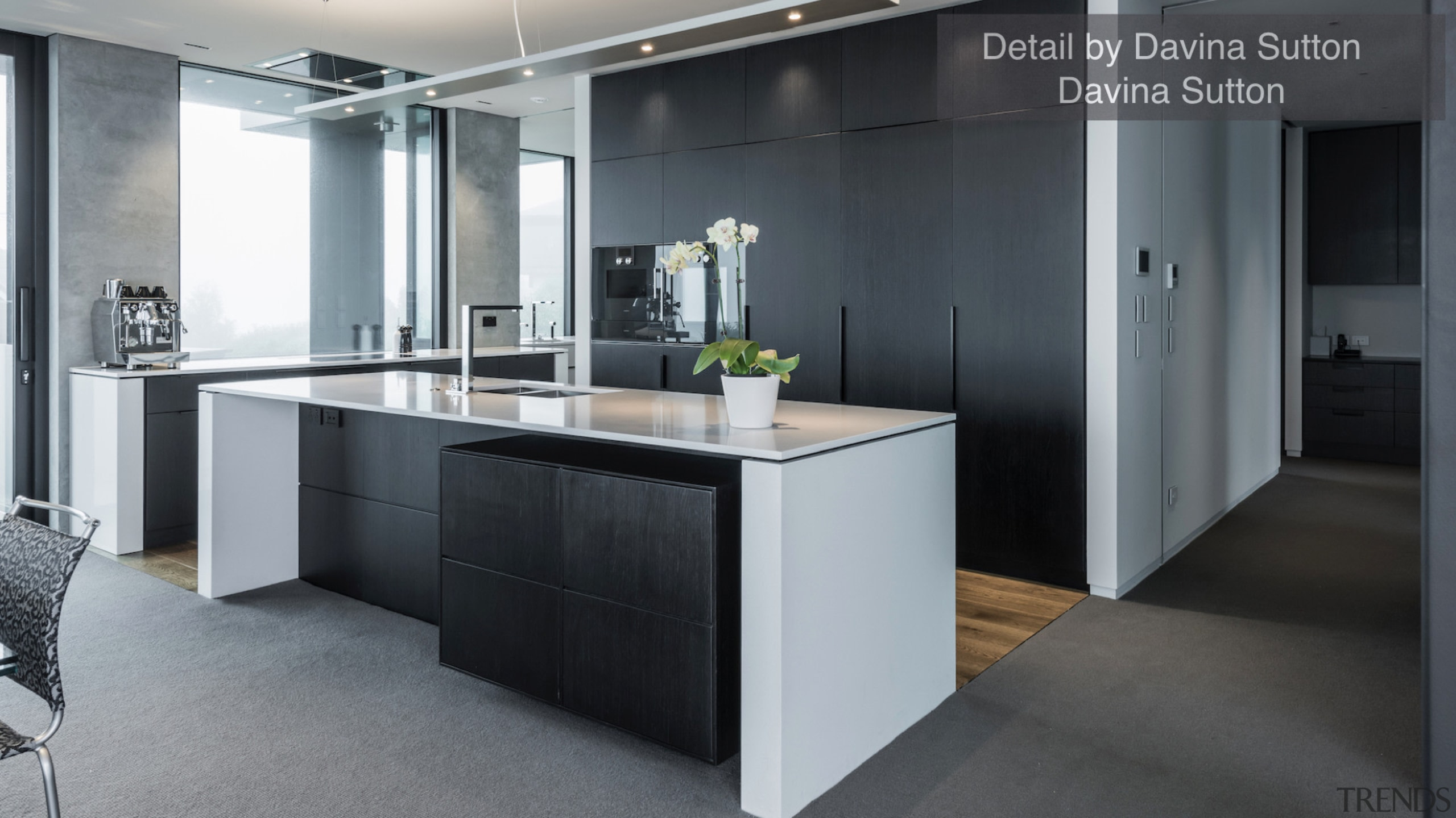 Detail by Davina Sutton – TIDA New Zealand cabinetry, countertop, floor, interior design, kitchen, gray, black