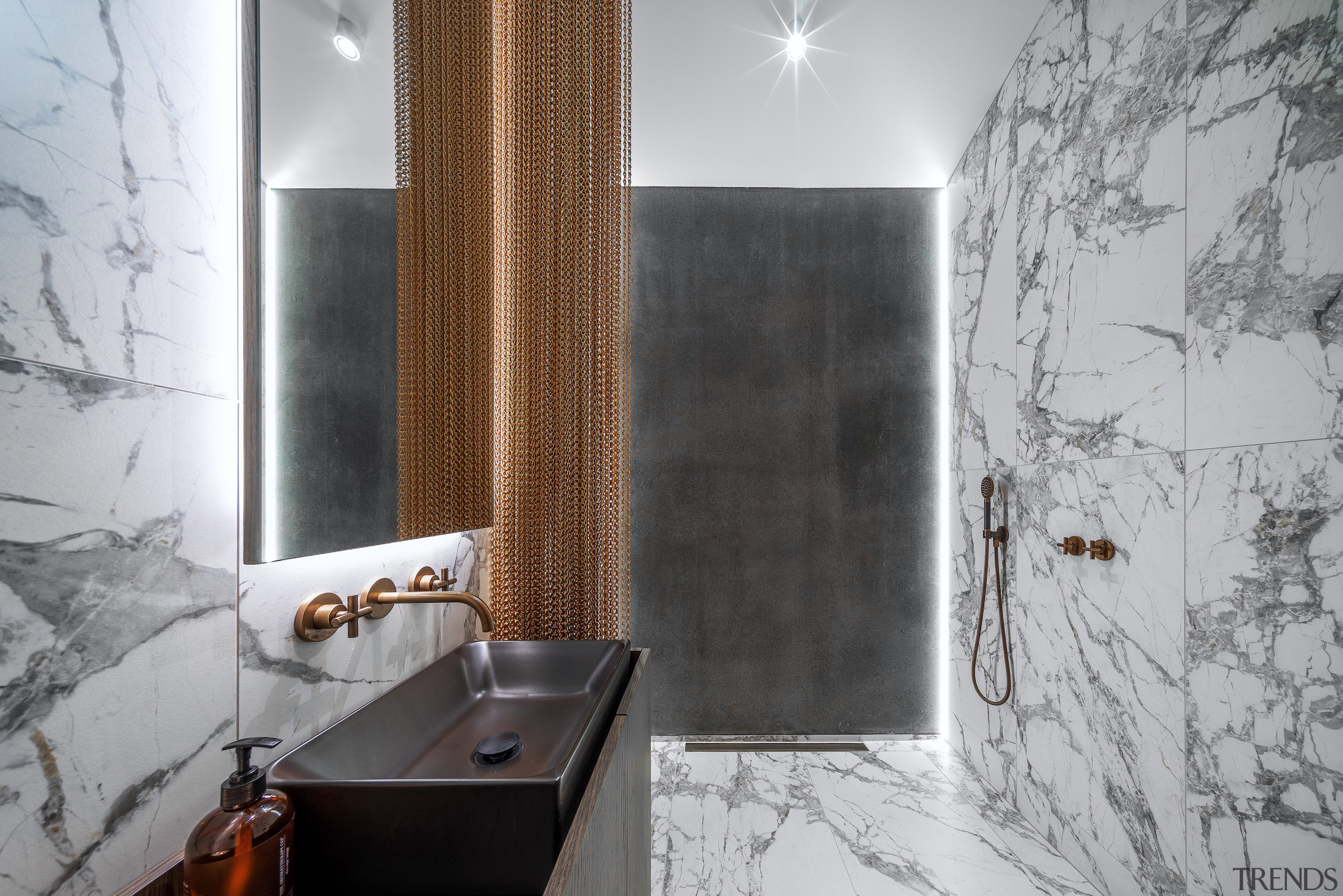 A design hallmark is a feature wall which