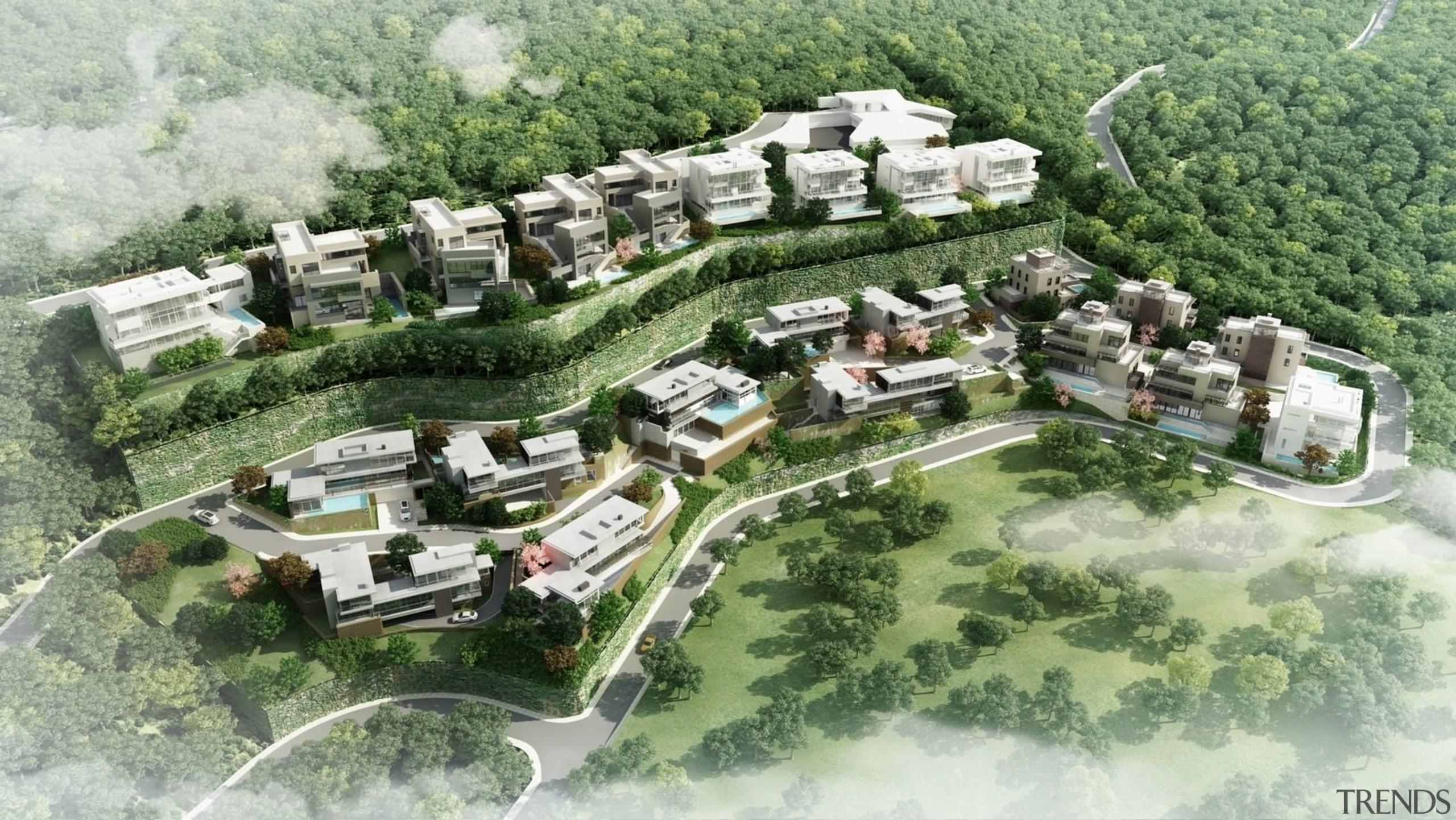 Site Rendering - Premia - bird's eye view bird's eye view, estate, land lot, mixed use, neighbourhood, residential area, suburb, urban design, village, green