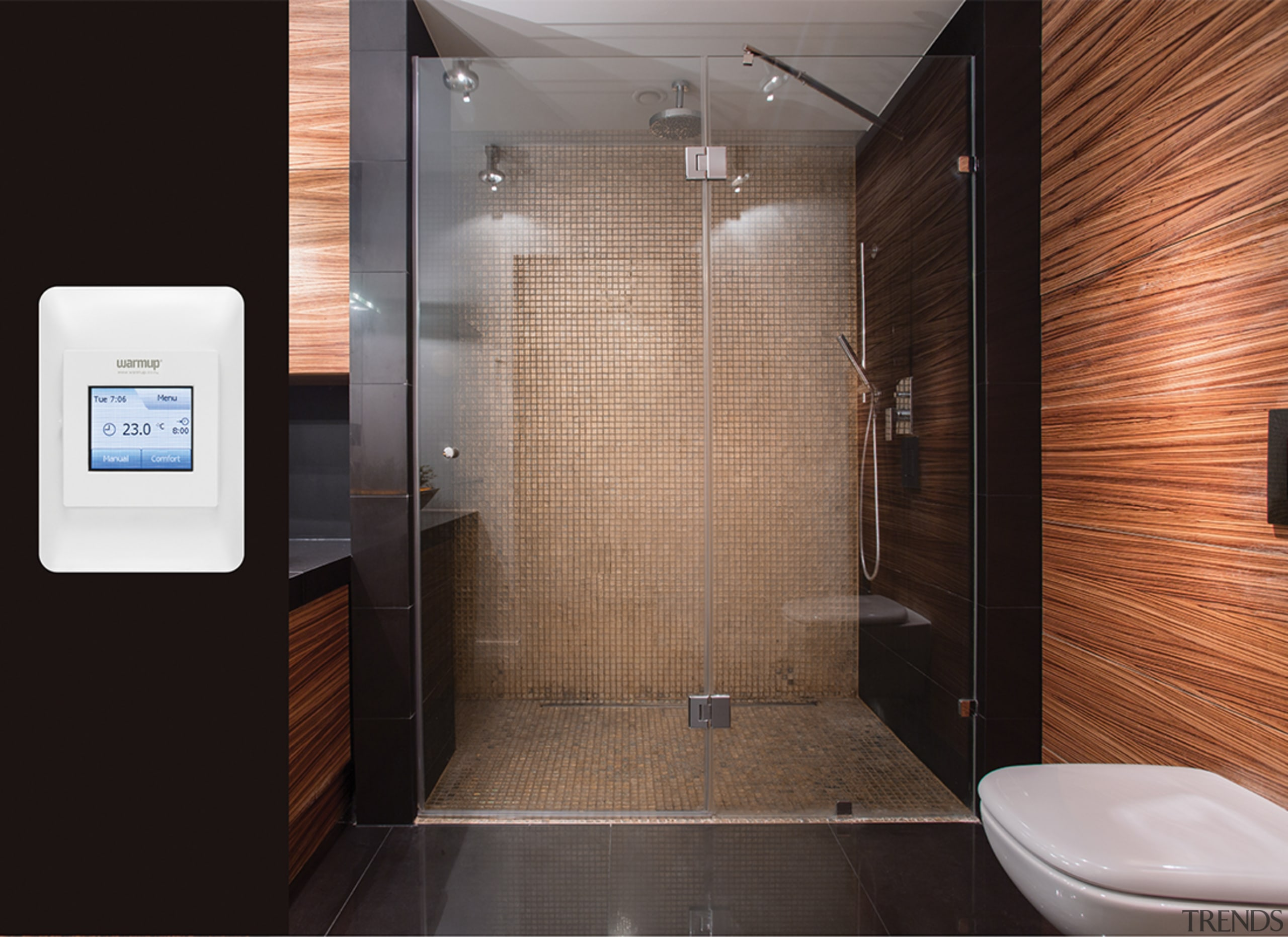 Thermostat - bathroom | floor | interior design bathroom, floor, interior design, plumbing fixture, room, tile, black