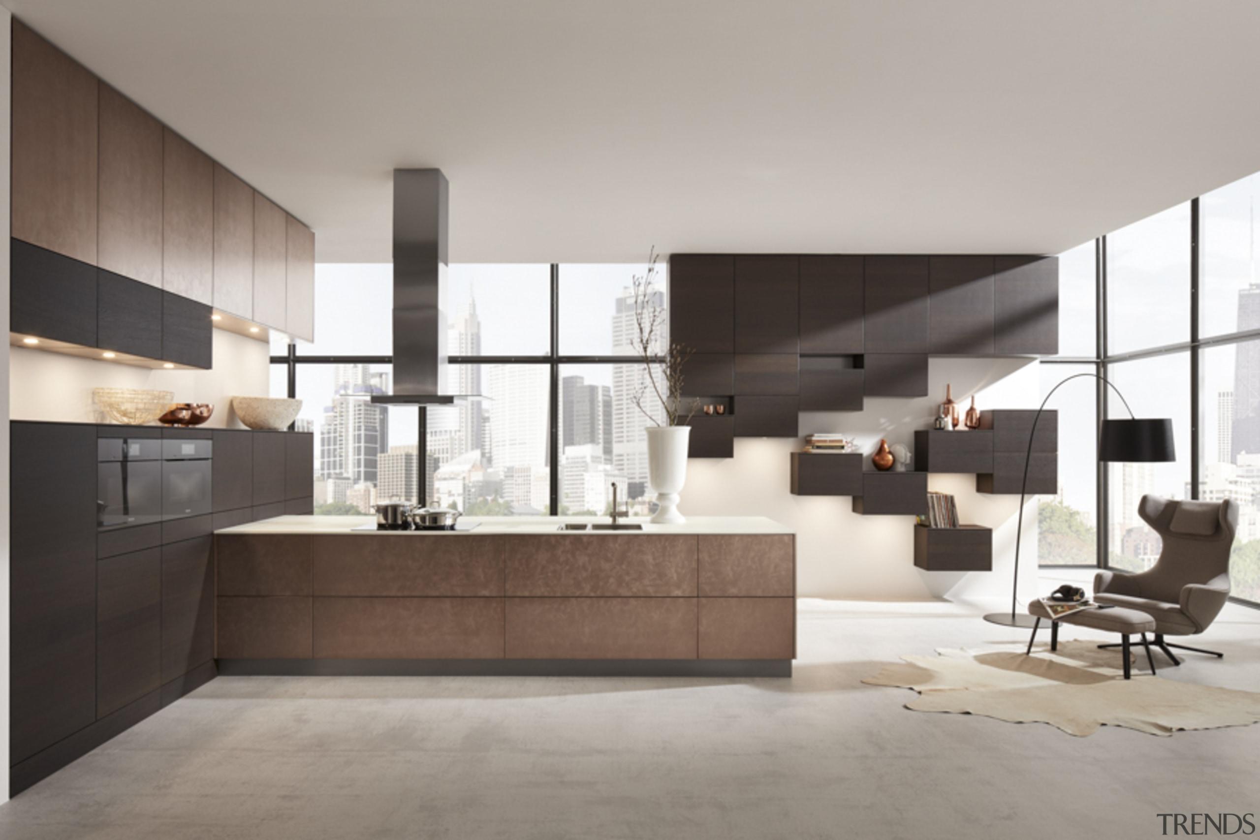 Neutral Hacker kitchen with unique floating storage architecture, floor, furniture, interior design, kitchen, living room, gray