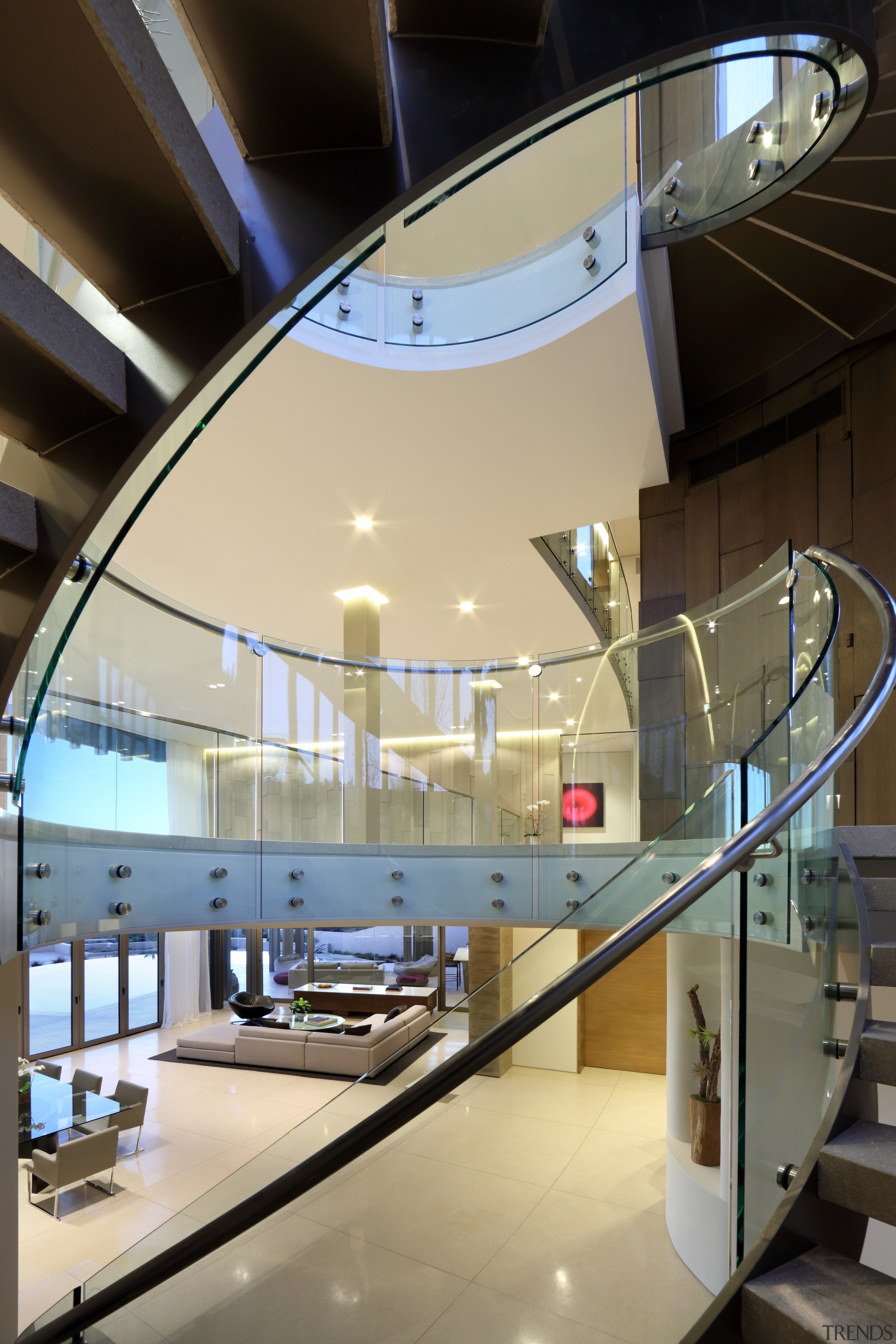Circulation stair in more ways than one  architecture, ceiling, daylighting, glass, handrail, interior design, stairs, black