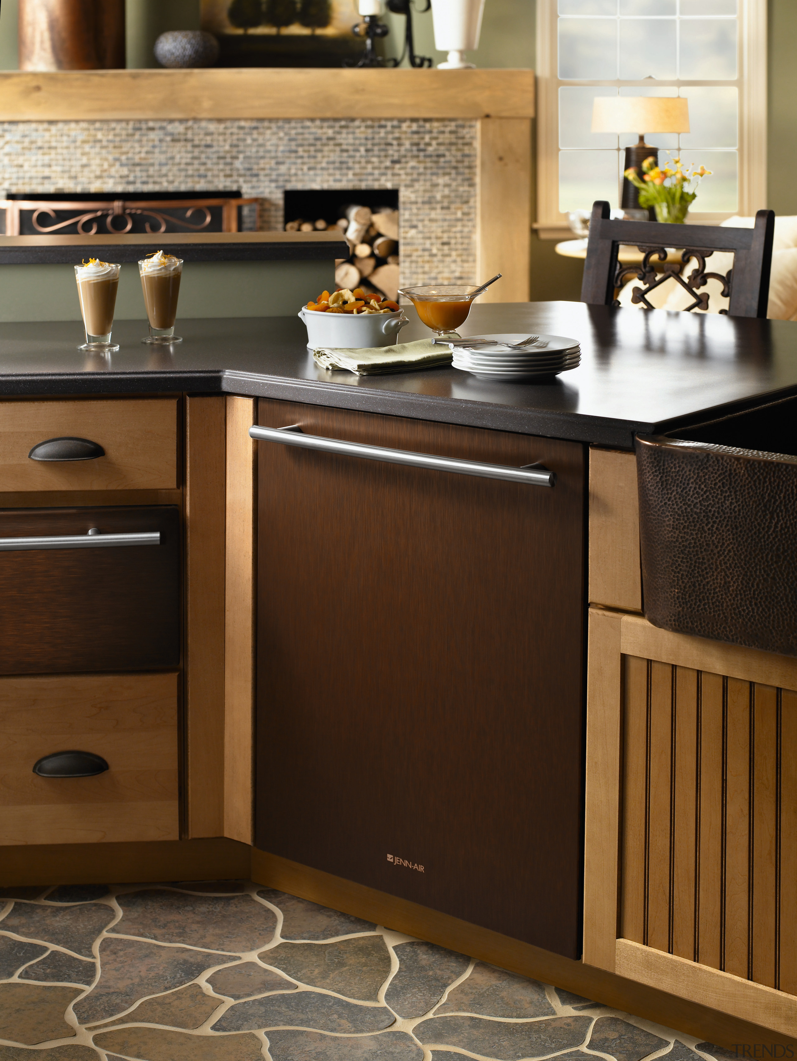 Bronze bench top contemporary kitchen - Bronze bench cabinetry, chest of drawers, countertop, cuisine classique, drawer, floor, flooring, furniture, hardwood, home appliance, interior design, kitchen, kitchen appliance, kitchen stove, major appliance, sideboard, table, tile, wood, wood flooring, wood stain, brown