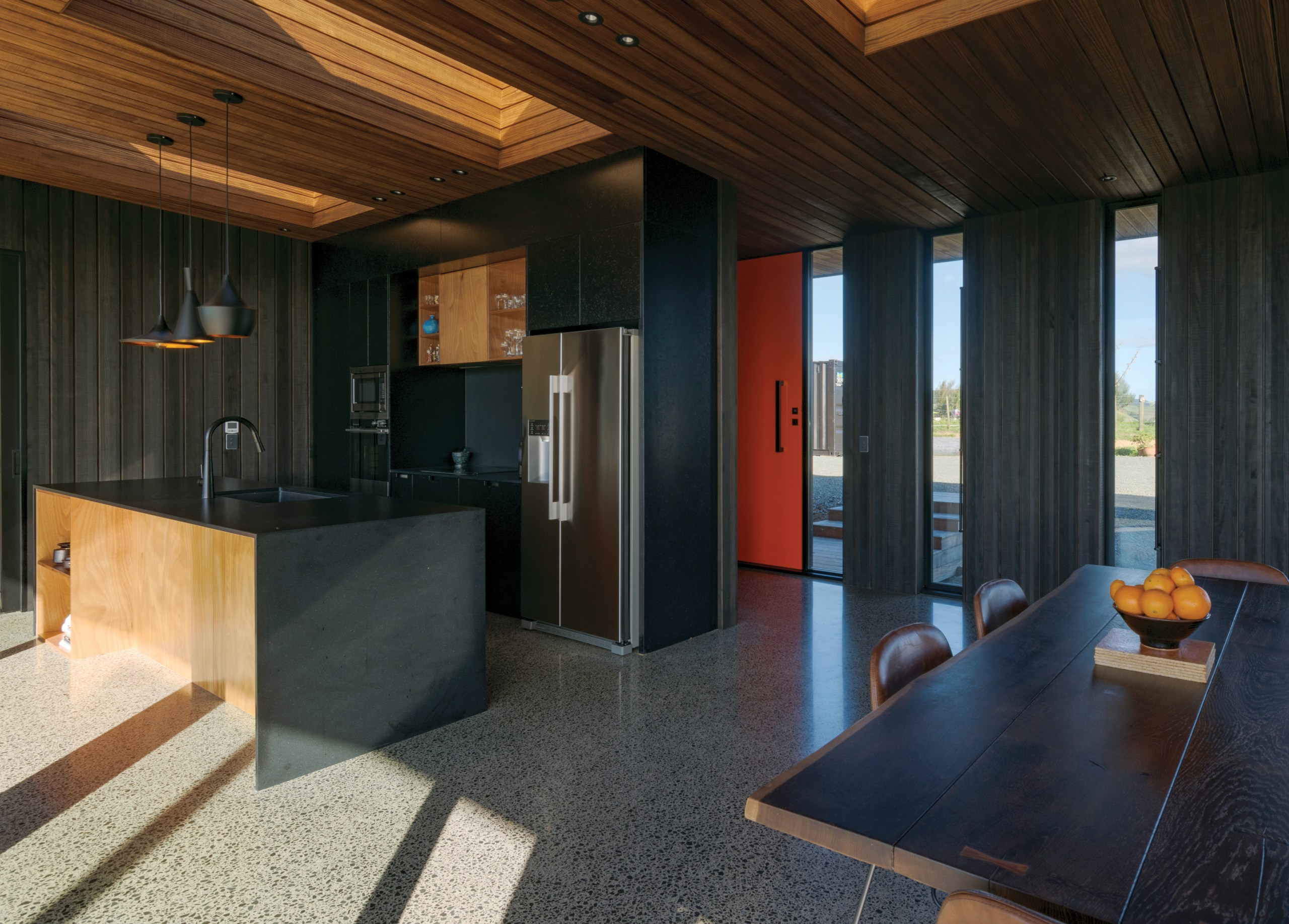 Highly Commended – Box Build – 2019 TIDA architecture, building, ceiling, floor, flooring, furniture, hardwood, home, house, interior design, loft, property, real estate, room, wall, wood, black
