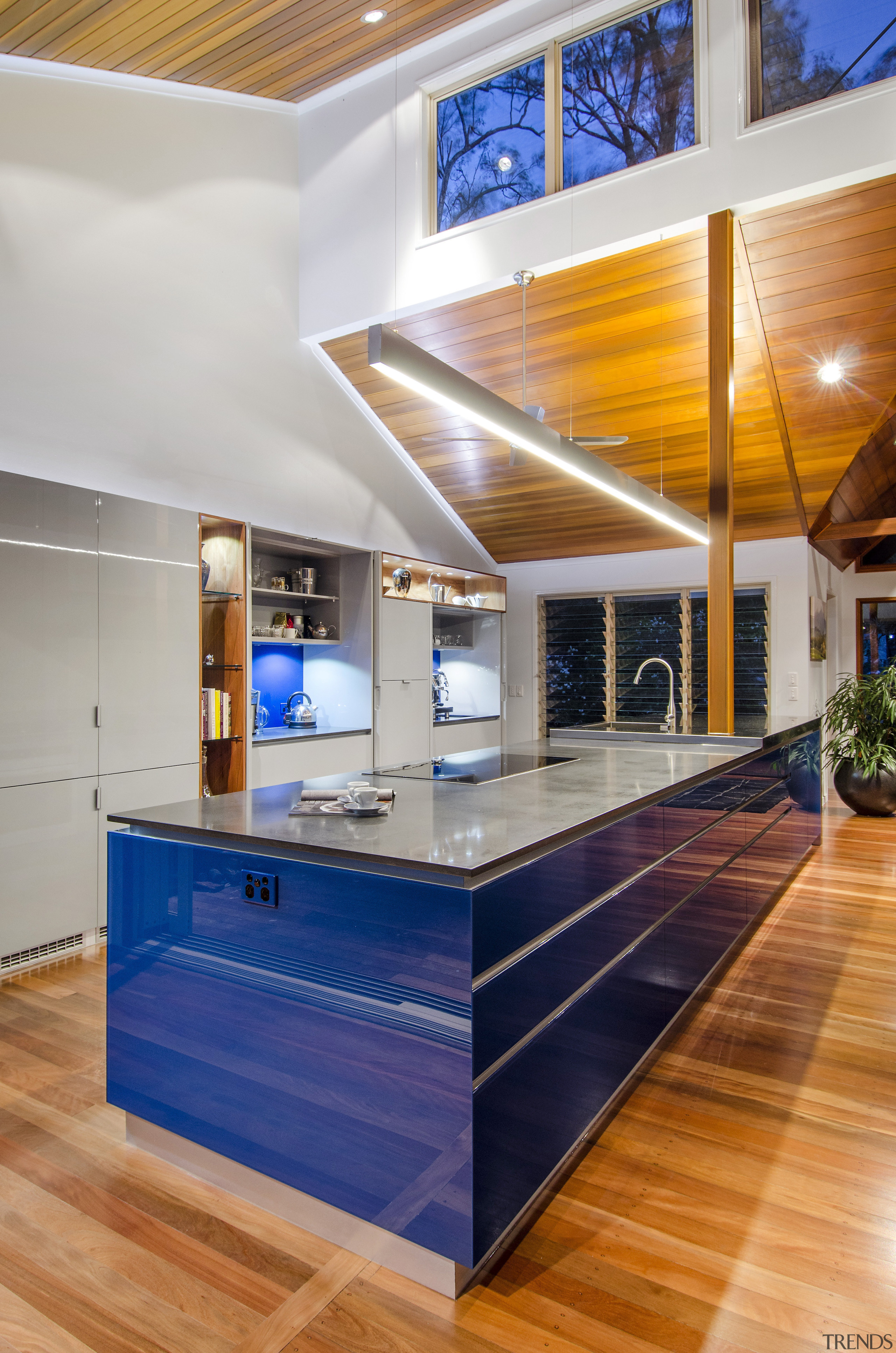 This kitchen was designed by Kim Duffin of architecture, ceiling, countertop, daylighting, floor, hardwood, house, interior design, kitchen, real estate, wood, gray
