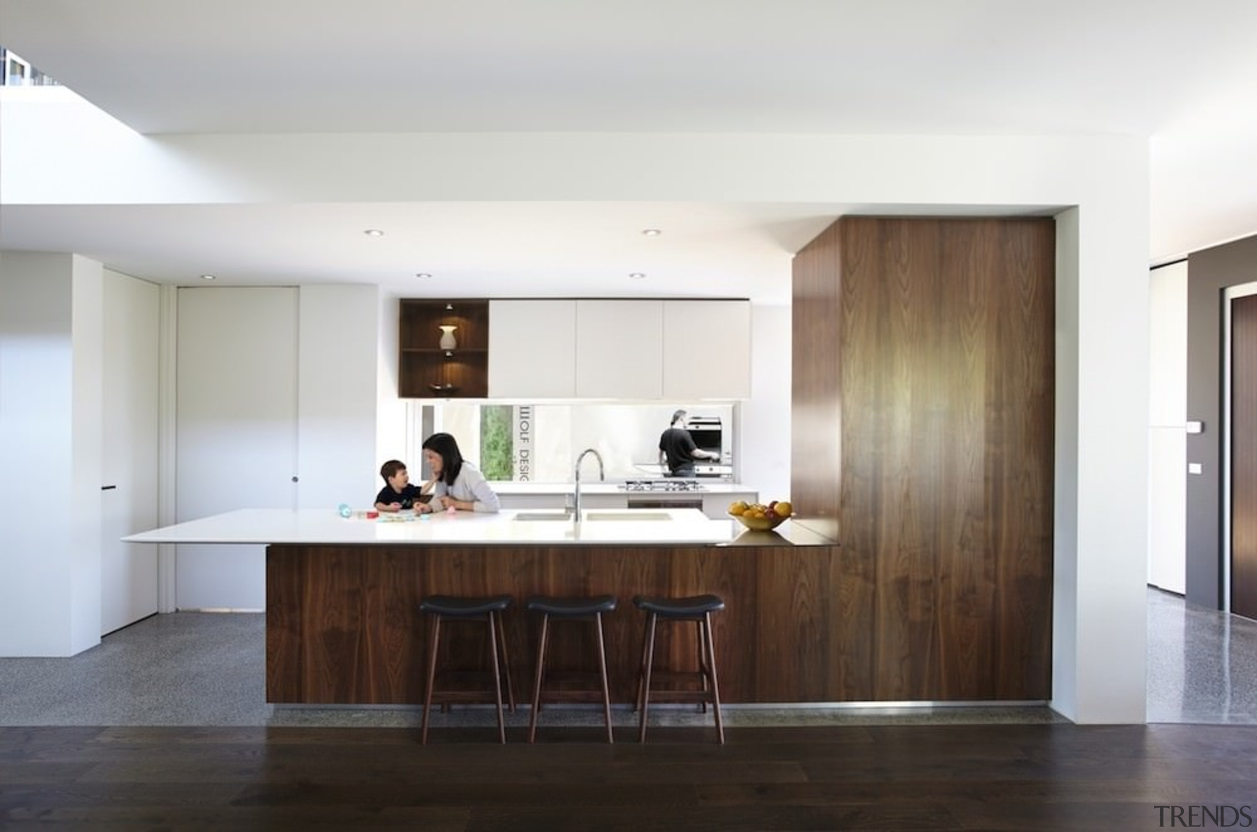 This wood kitchen serves as the perfect contrast cabinetry, countertop, floor, flooring, house, interior design, kitchen, real estate, room, wood flooring, white