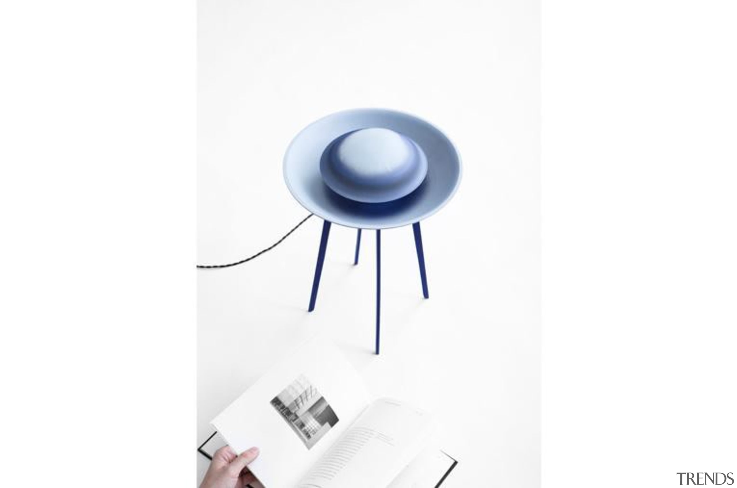 Dessus-Dessous and Dessous-dessus are two lamps made of light fixture, lighting, product, product design, table, white