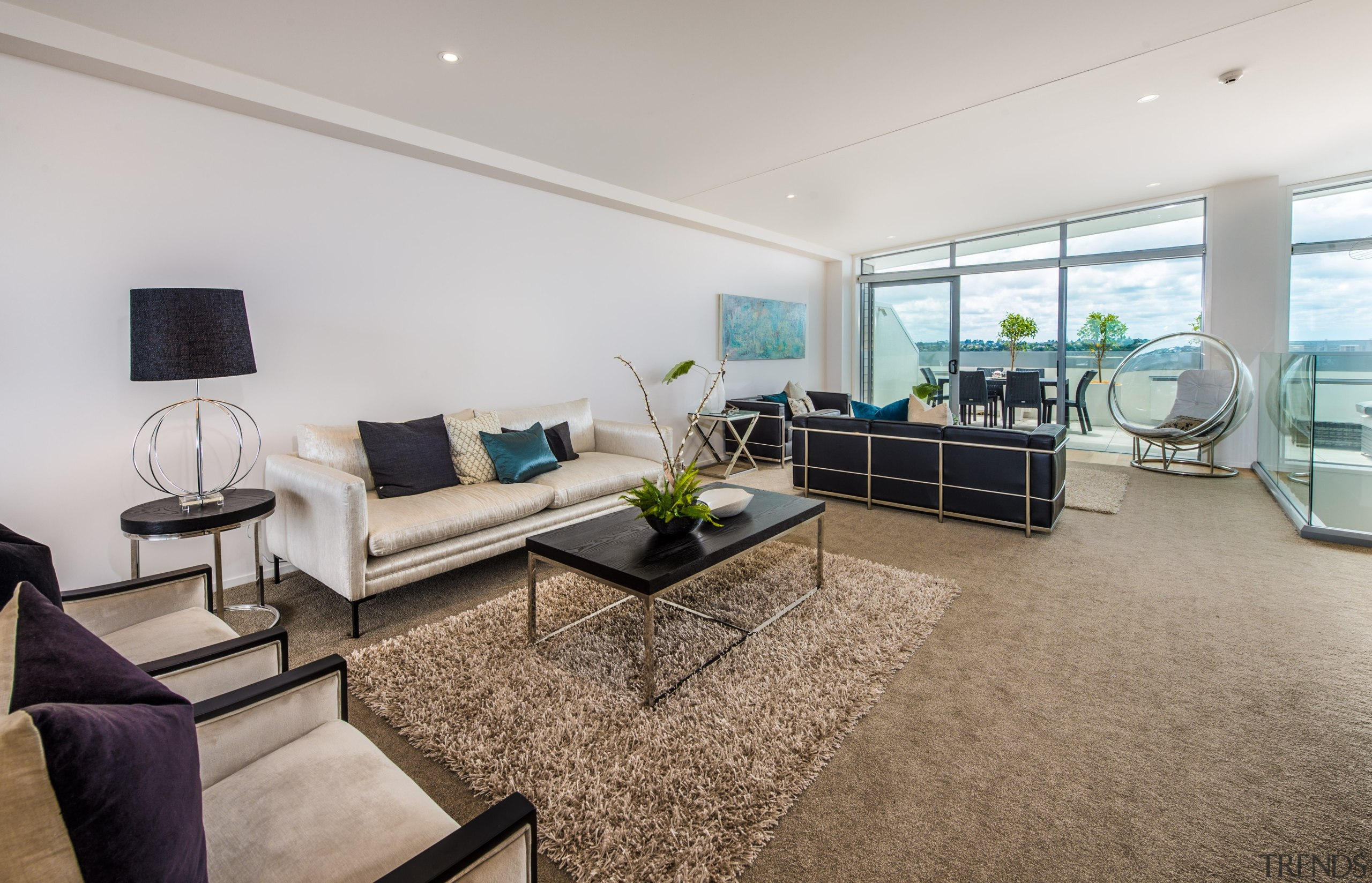 Ample living room - Ample living room - estate, floor, interior design, living room, penthouse apartment, property, real estate, room, gray