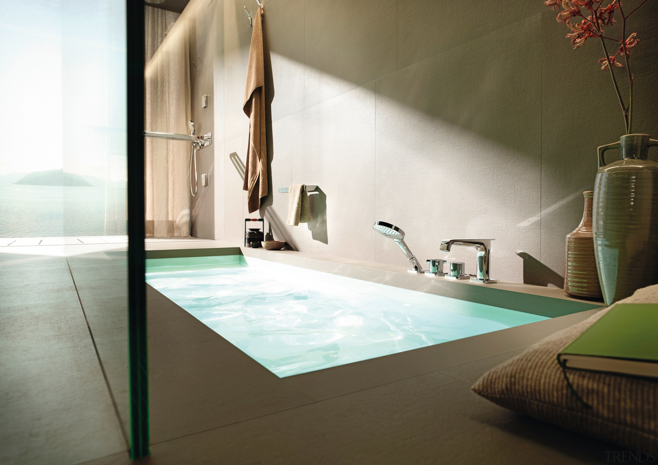 Making a splash  Hansgrohes sculptural Axor Citterio bathroom, bathtub, floor, glass, interior design, plumbing fixture, property, room, brown, white