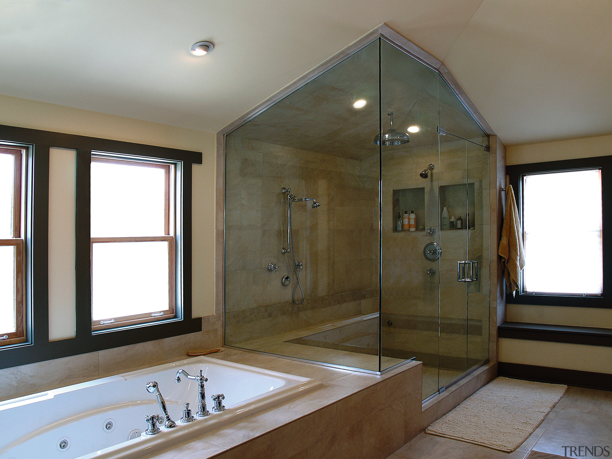 BathWorks Specializes in custom-designed shower enclouseres, and mirrors bathroom, bathtub, ceiling, estate, floor, home, interior design, real estate, room, window, gray, brown