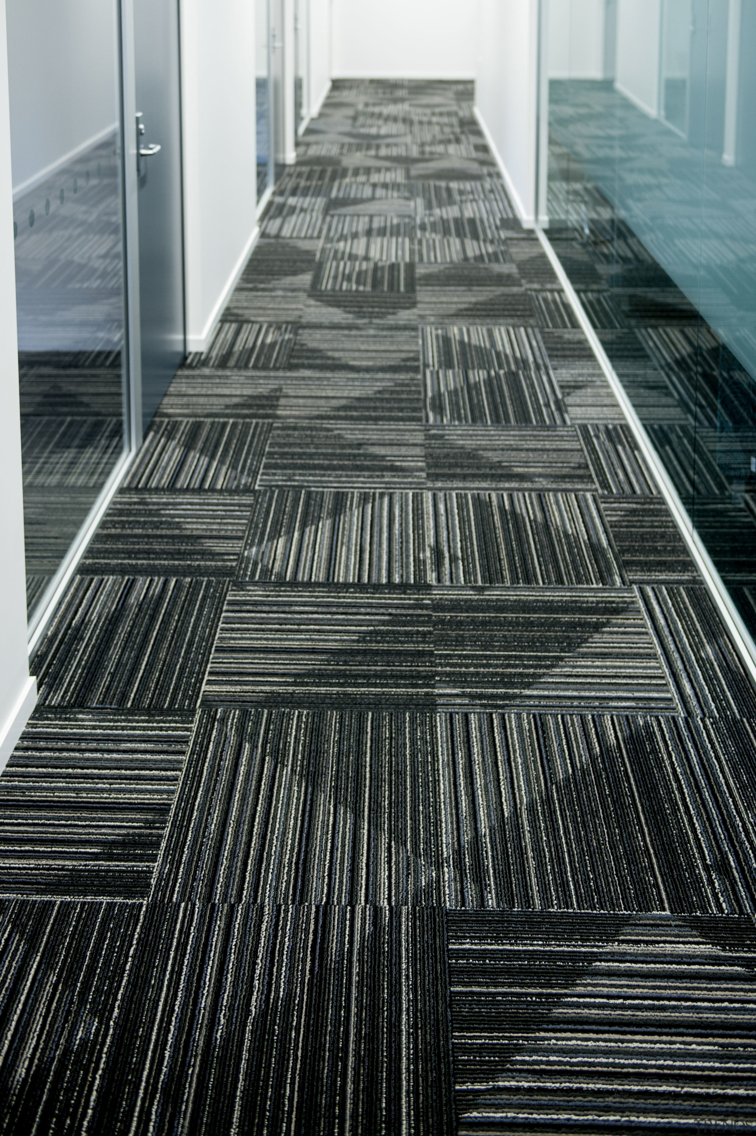 Durable, good-looking carpet tiles for commercial use architecture, black and white, building, daylighting, floor, flooring, line, monochrome, monochrome photography, reflection, structure, tile, wood, black, gray