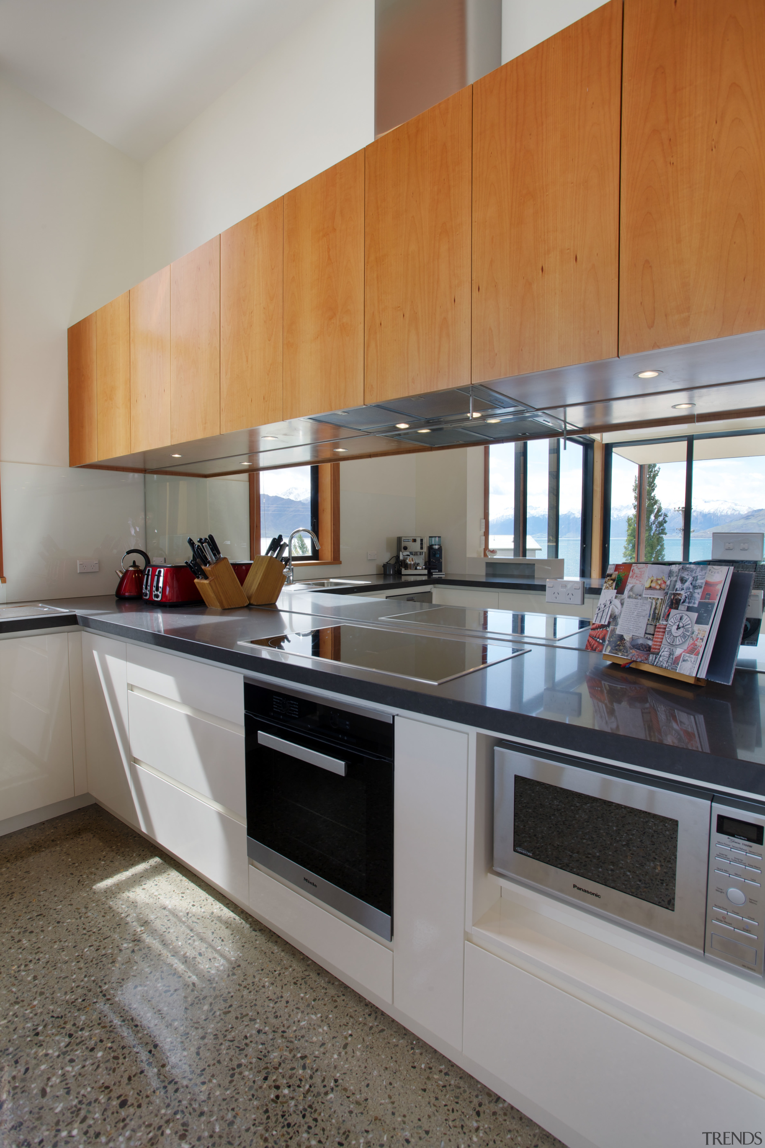 The views in this new holiday home are cabinetry, countertop, cuisine classique, interior design, kitchen, real estate, gray