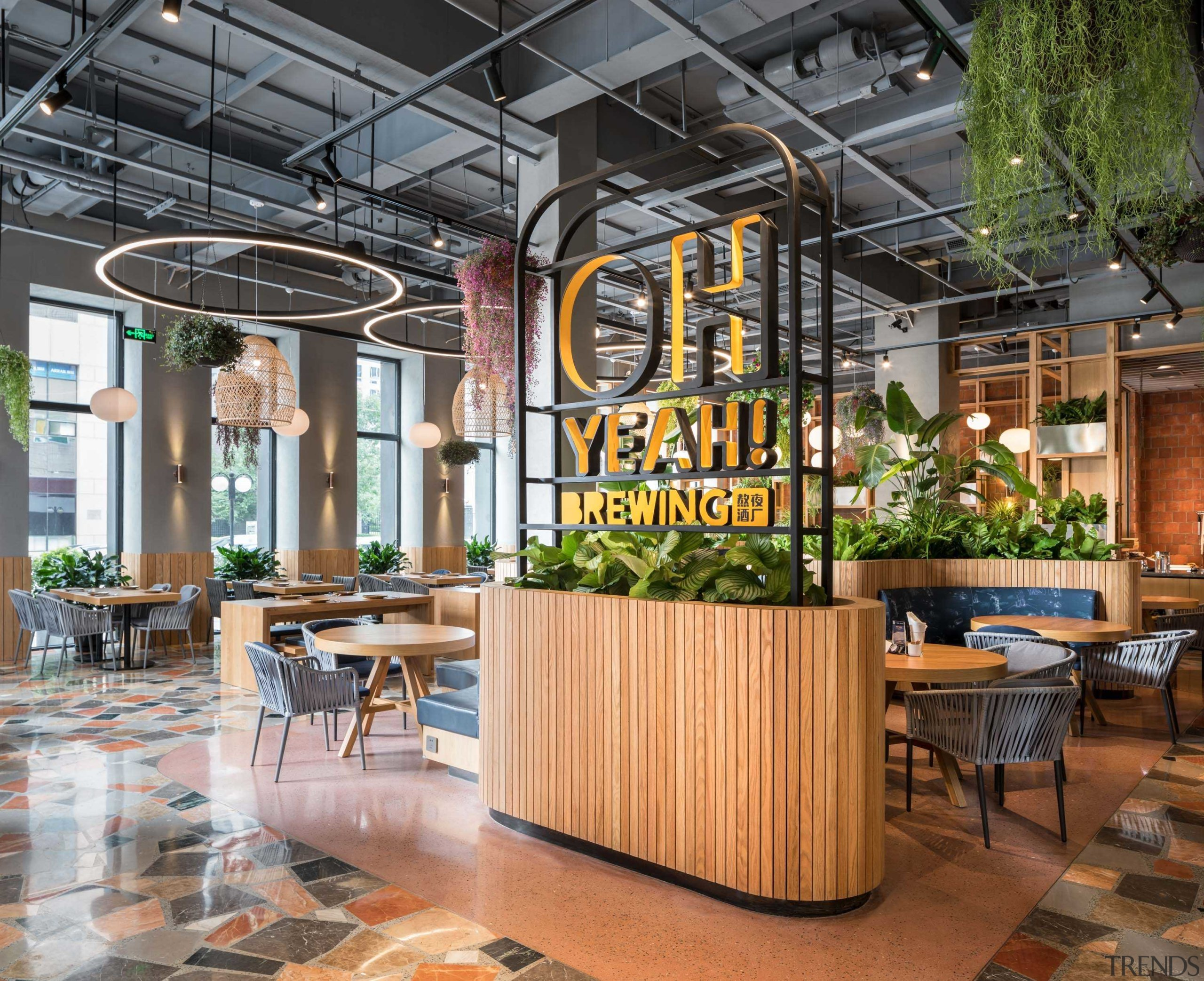 Welcome to a fresh taste of brewing supremacy. architecture, building, ceiling, floor, flooring, furniture, interior design, lobby, restaurant, room, gray