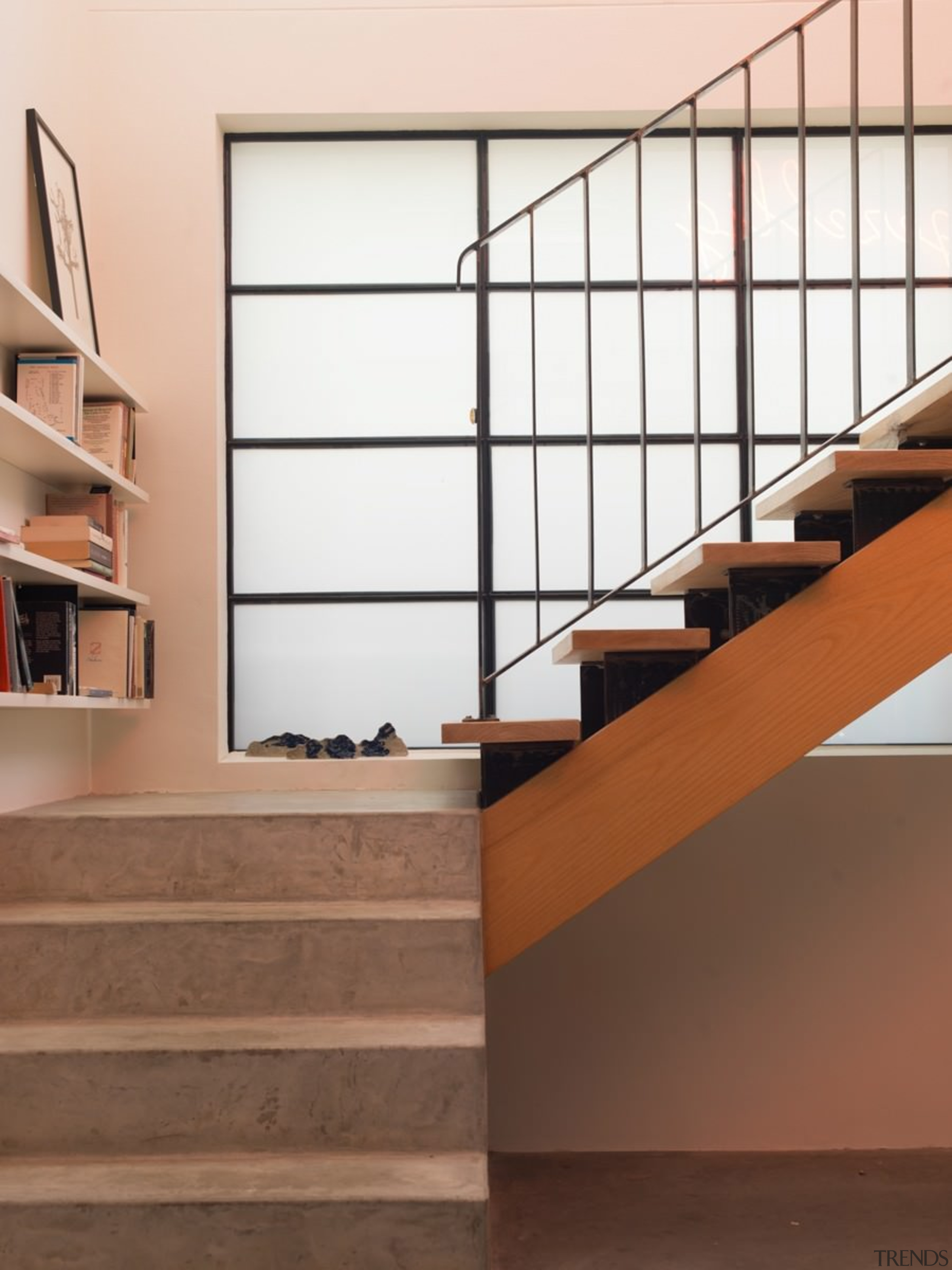 Concrete steps rise to meet wood - Concrete architecture, floor, flooring, glass, handrail, hardwood, interior design, laminate flooring, product design, shelf, shelving, stairs, wood, wood flooring, brown, white