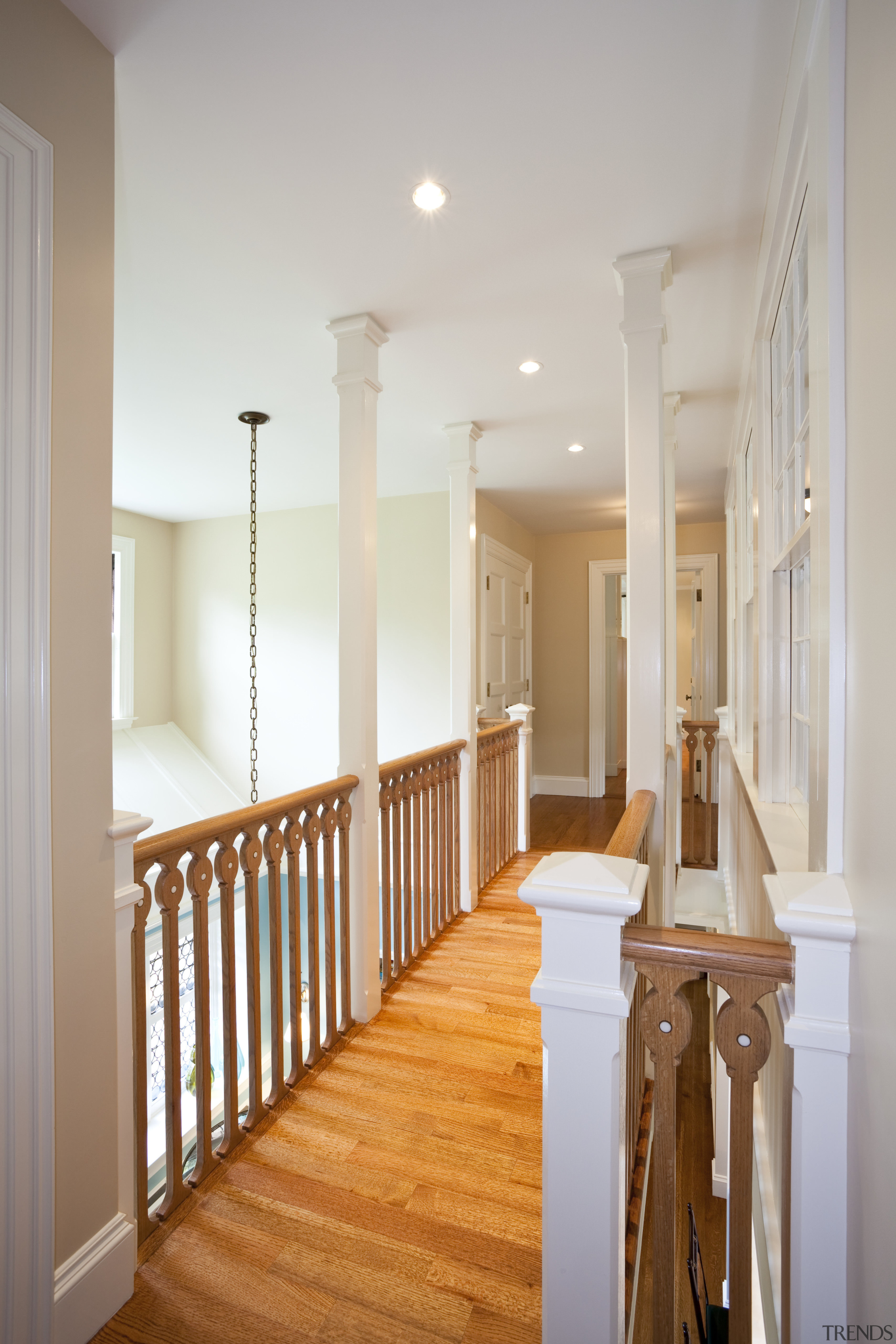 View of home in the historic Brattle Street baluster, ceiling, column, daylighting, estate, floor, flooring, hall, handrail, hardwood, home, house, interior design, laminate flooring, lighting, molding, real estate, room, stairs, structure, wall, window, wood, wood flooring, gray