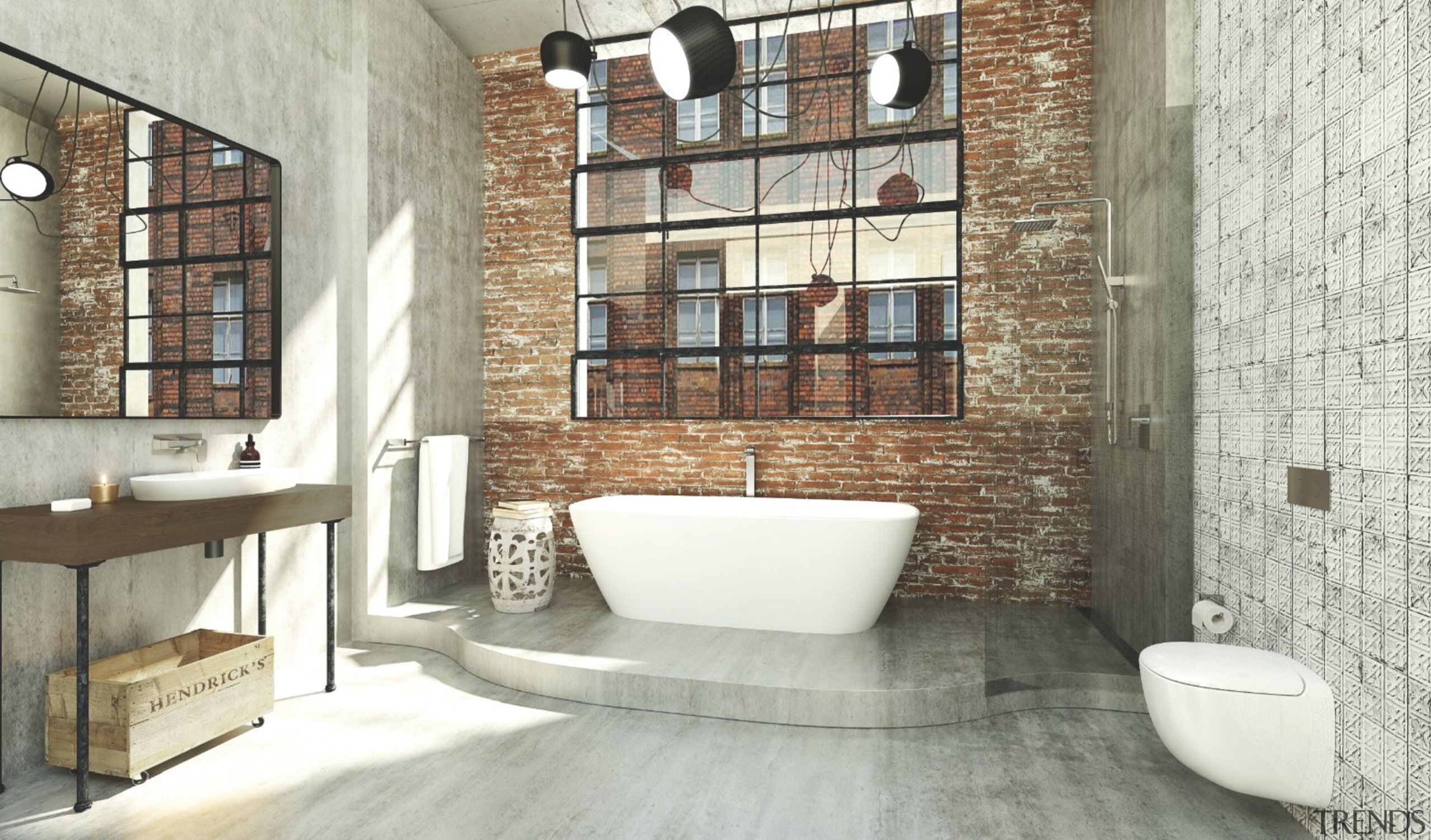 Iconic bathroomware brand Caroma has announced the bathroom, floor, flooring, home, interior design, loft, room, tile, wall, white, gray