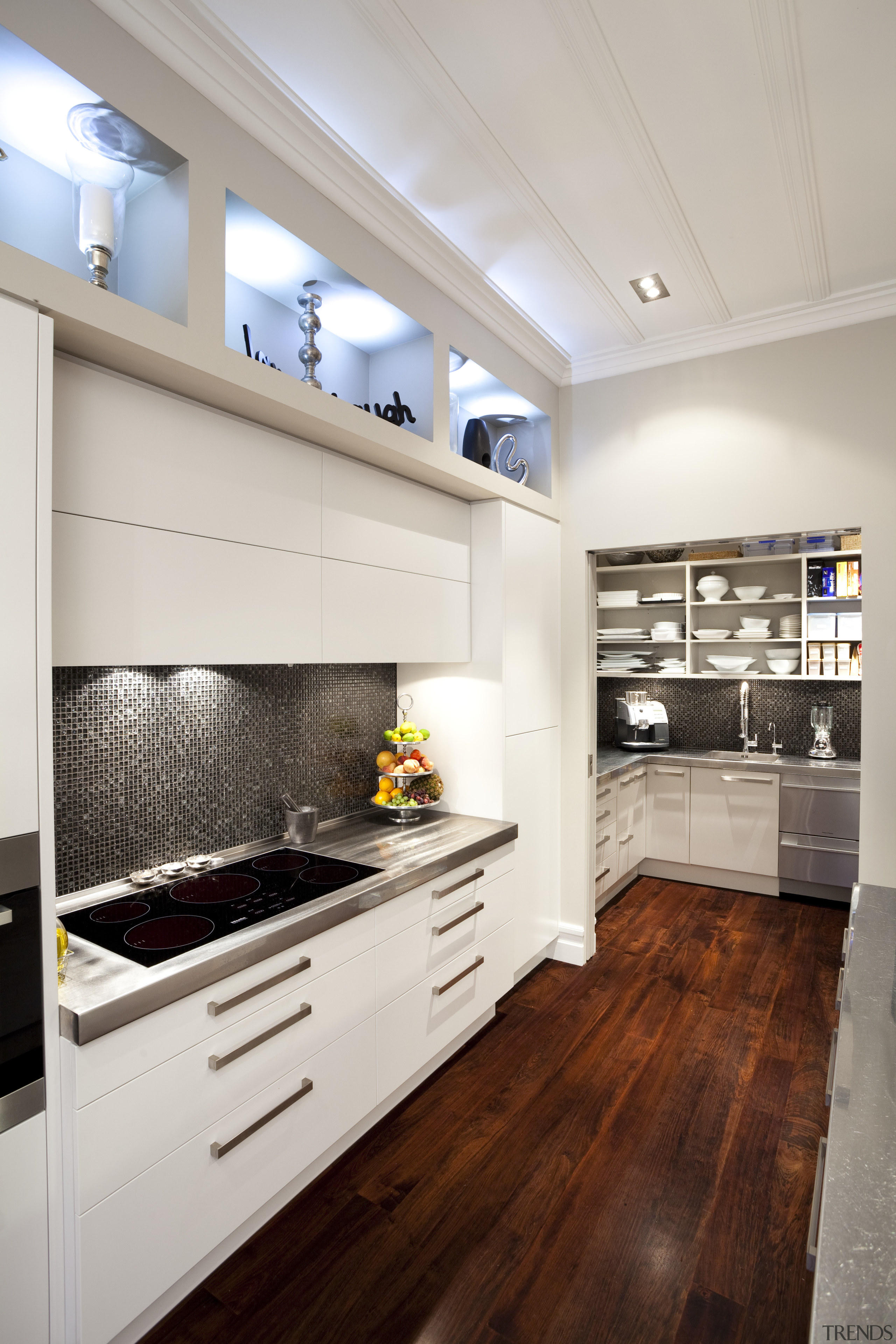 cabinets wuth stainless handles, white against dark wooden cabinetry, ceiling, countertop, cuisine classique, floor, flooring, hardwood, home appliance, interior design, kitchen, laminate flooring, room, wood flooring, gray