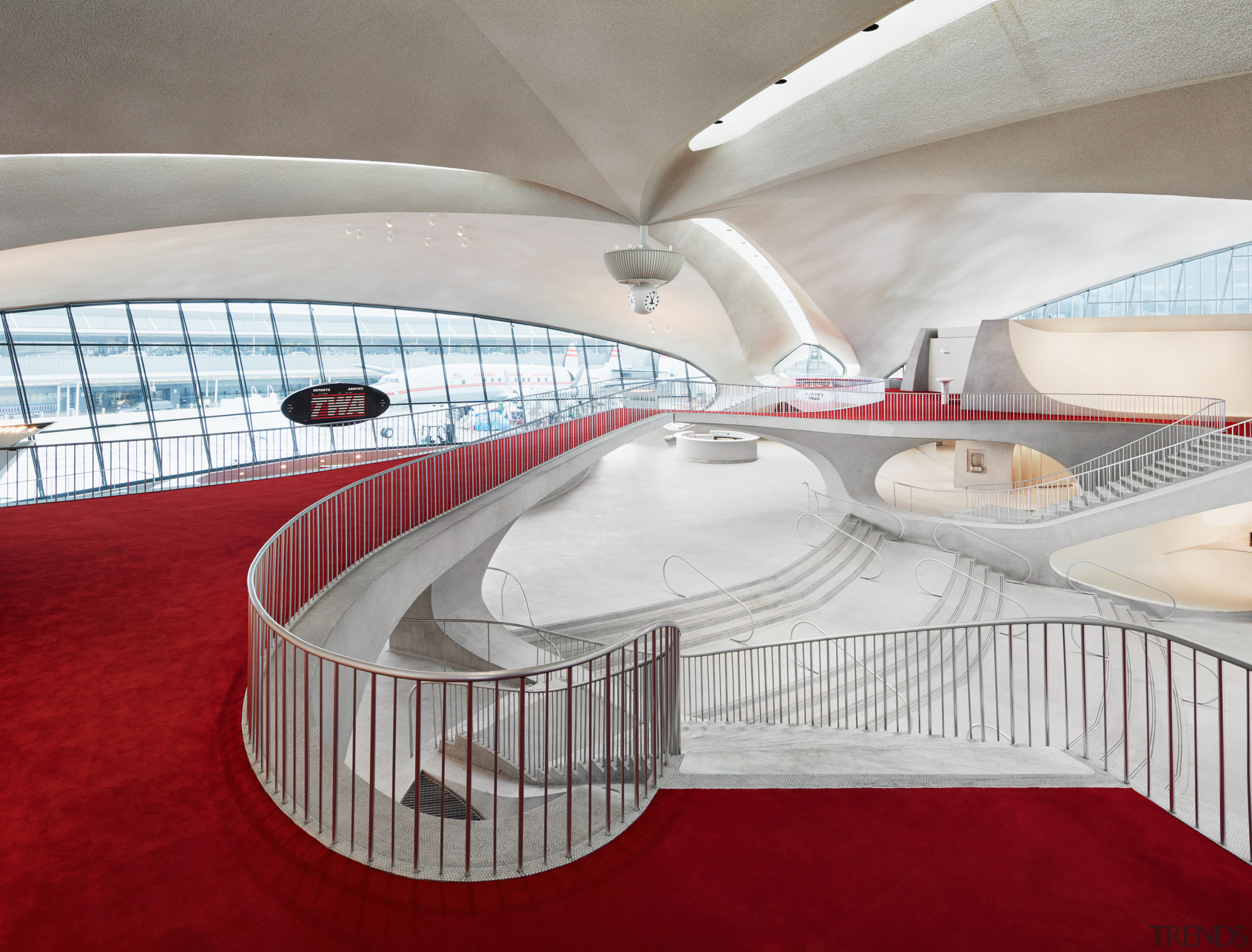 :Looking down on the terminal from the London architecture, London Club, TWA Hotel, Lubrano Ciavarra Architects