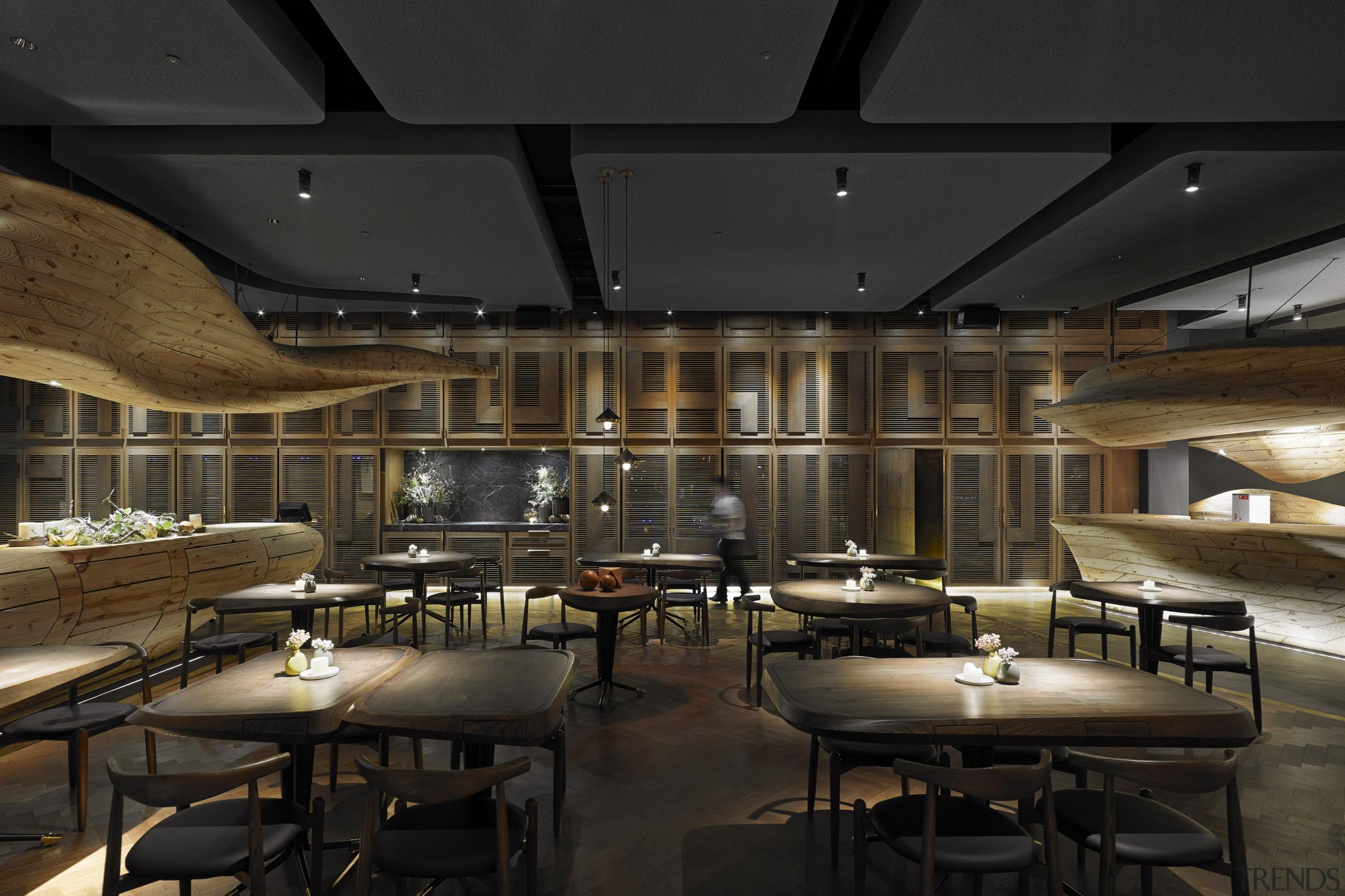 In Raw restaurant in Taipei each table has ceiling, interior design, restaurant, black