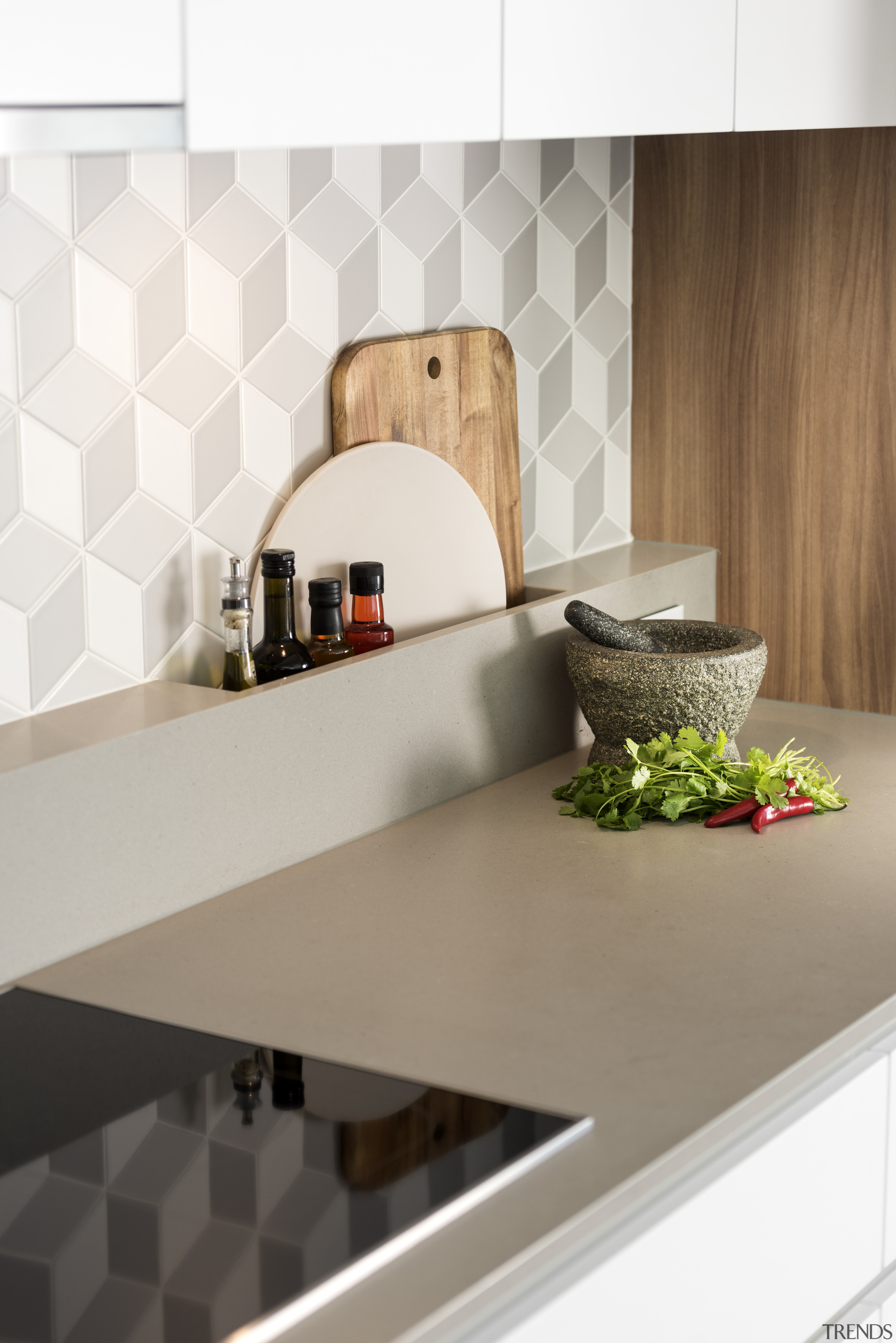 ​​​​​​​Turning the rear benchtop up the wall added ceramic, countertop, interior design, kitchen, shelf, tile, wall, white