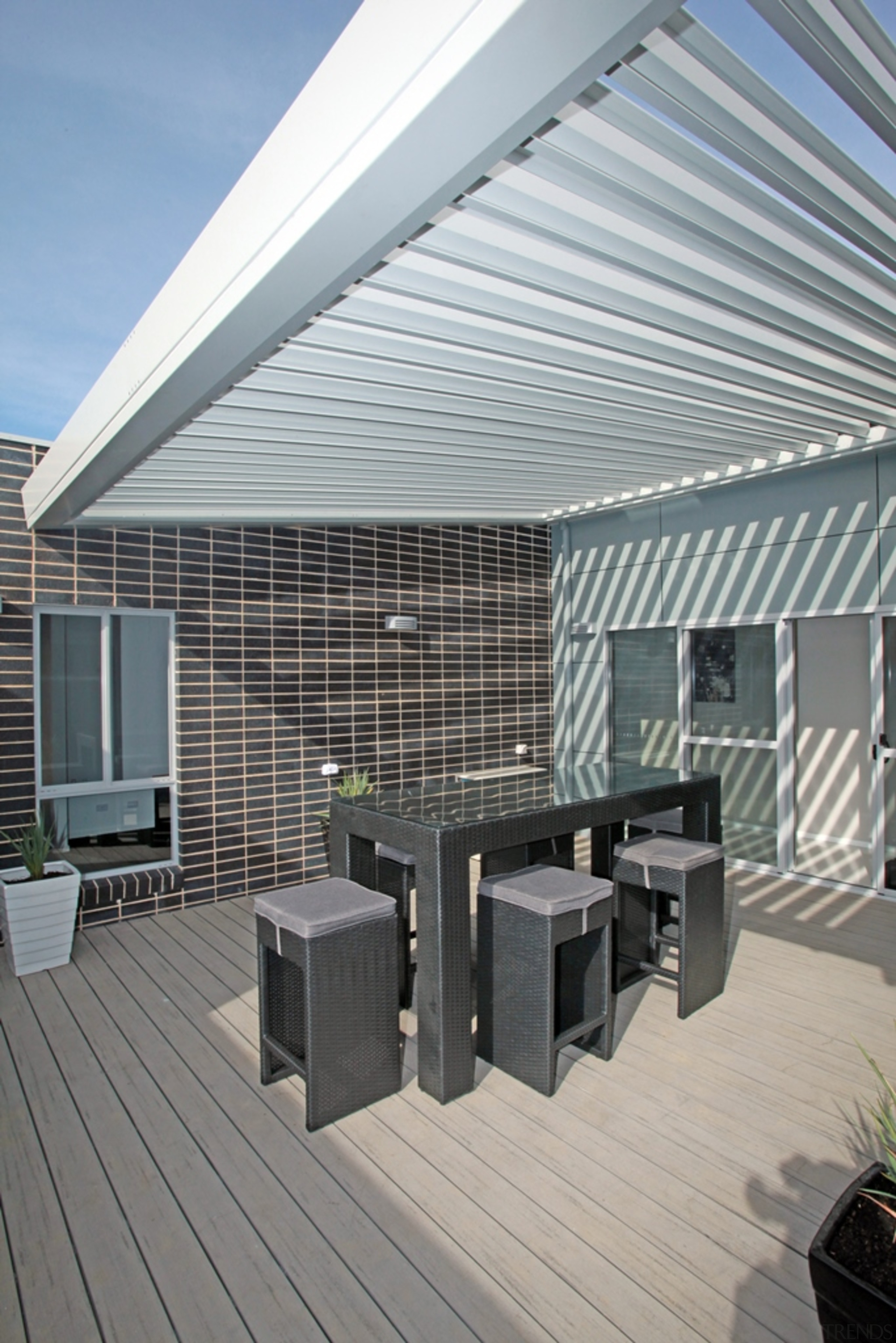 78580_louvretec-new-zealand-ltd_1557360744 - architecture | awning | building | architecture, awning, building, ceiling, deck, design, facade, home, house, interior design, pergola, property, real estate, roof, room, shade, siding, gray