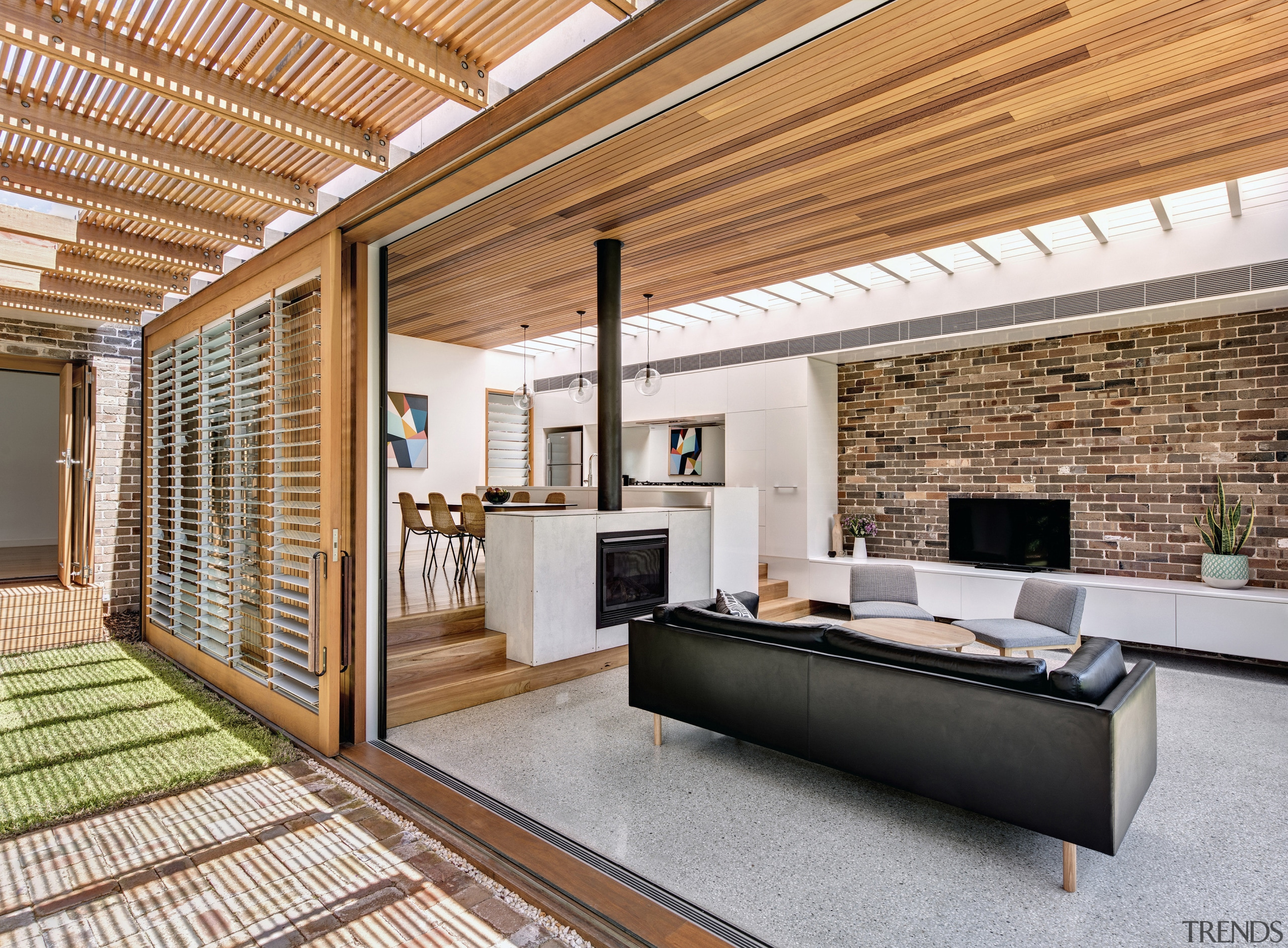 Sliding walls  on this extension, the indoors architecture, ceiling, floor, house, interior design, living room, real estate, wood