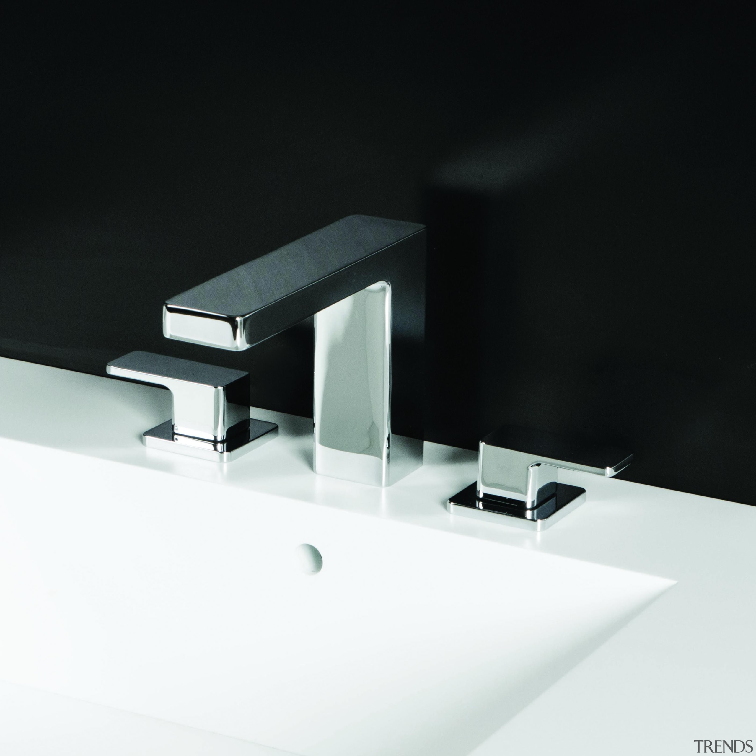 Deck-mount three-hole faucet with a square-neck spout, two angle, hardware, plumbing fixture, product, product design, tap, black, white