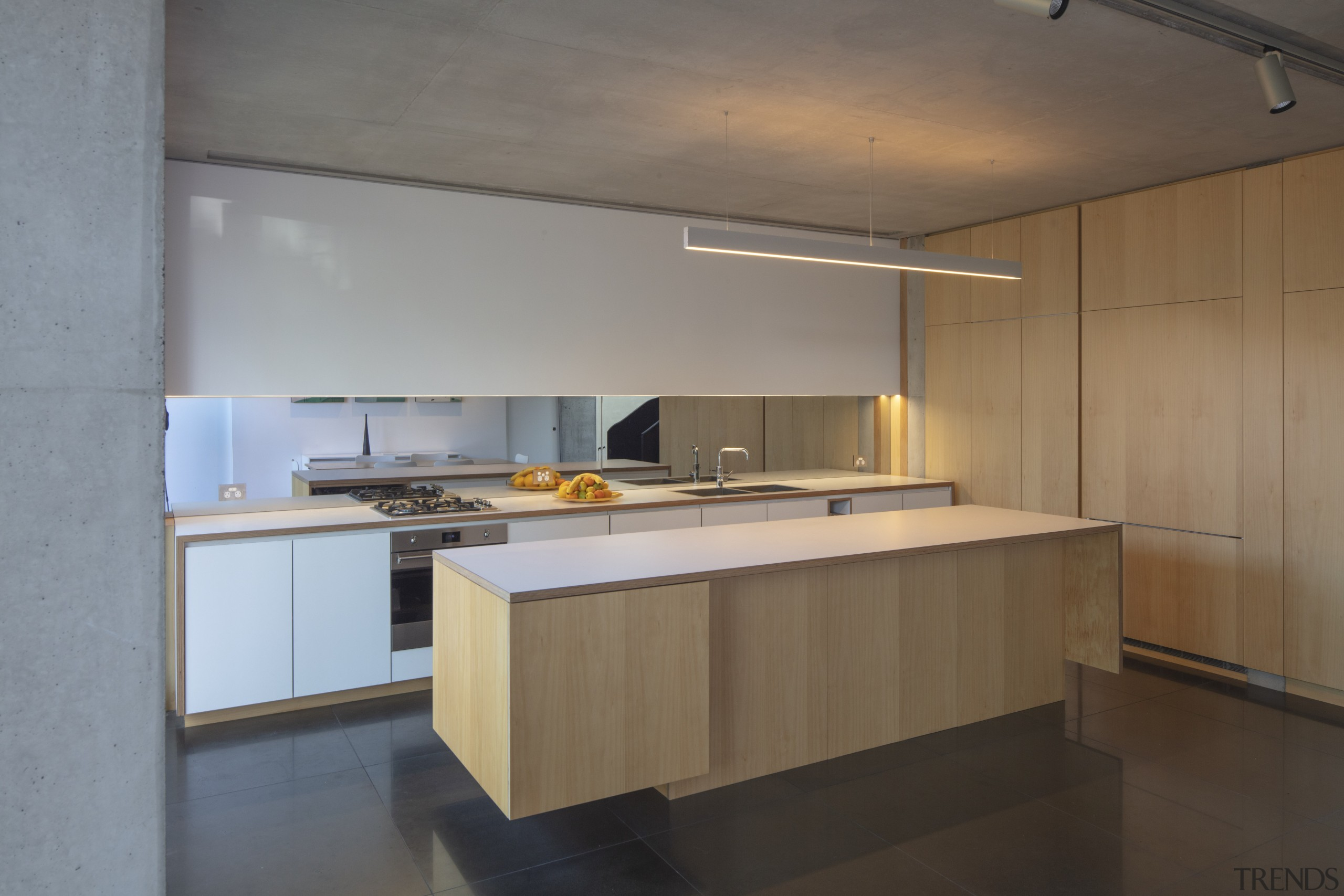 The exposed timber edging on the front and architecture, building, cabinetry, ceiling, countertop, floor, flooring, furniture, home, house, interior design, kitchen, kitchen stove, loft, material property, property, real estate, room, gray, brown