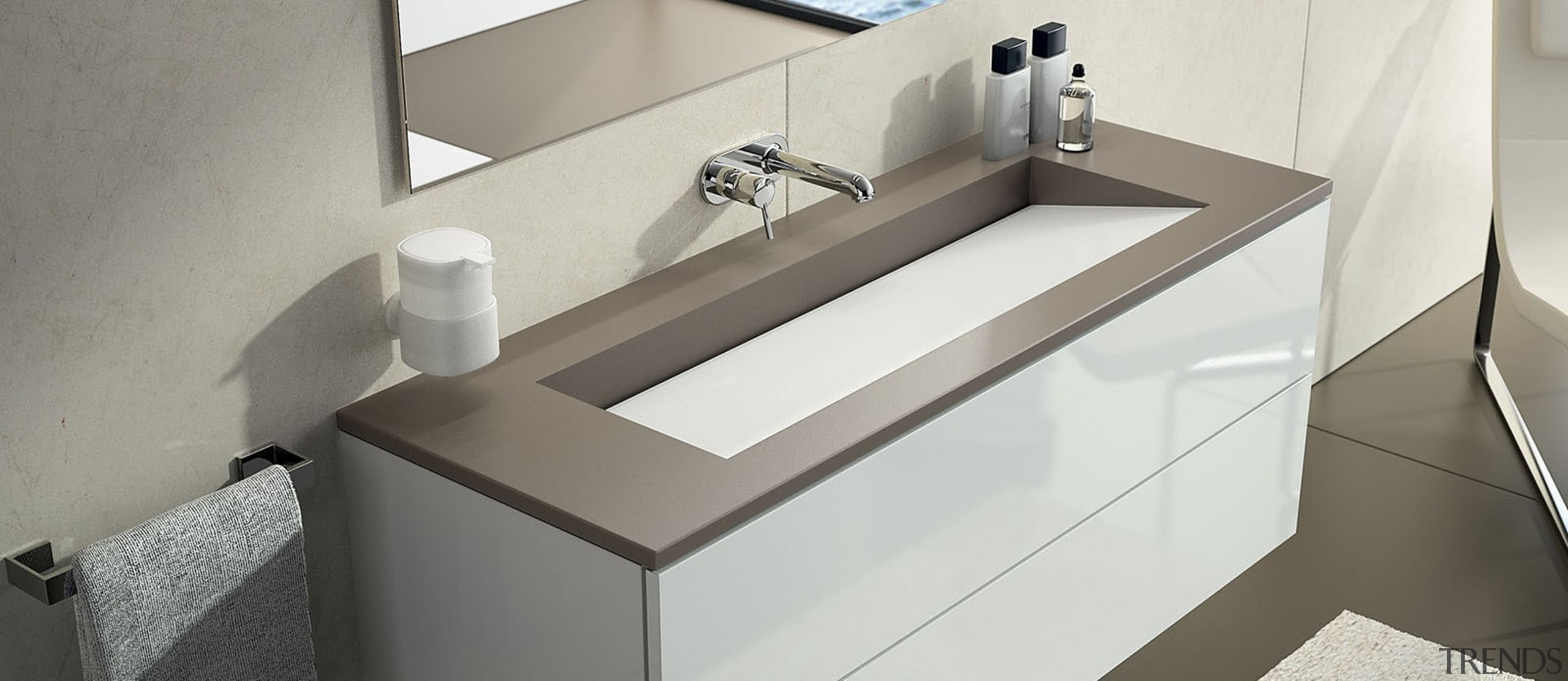 SILESTONE - BAÑO 4 BLANCO ZEUS + UNSUI angle, bathroom, bathroom sink, floor, furniture, interior design, plumbing fixture, product, product design, sink, tap, gray, white