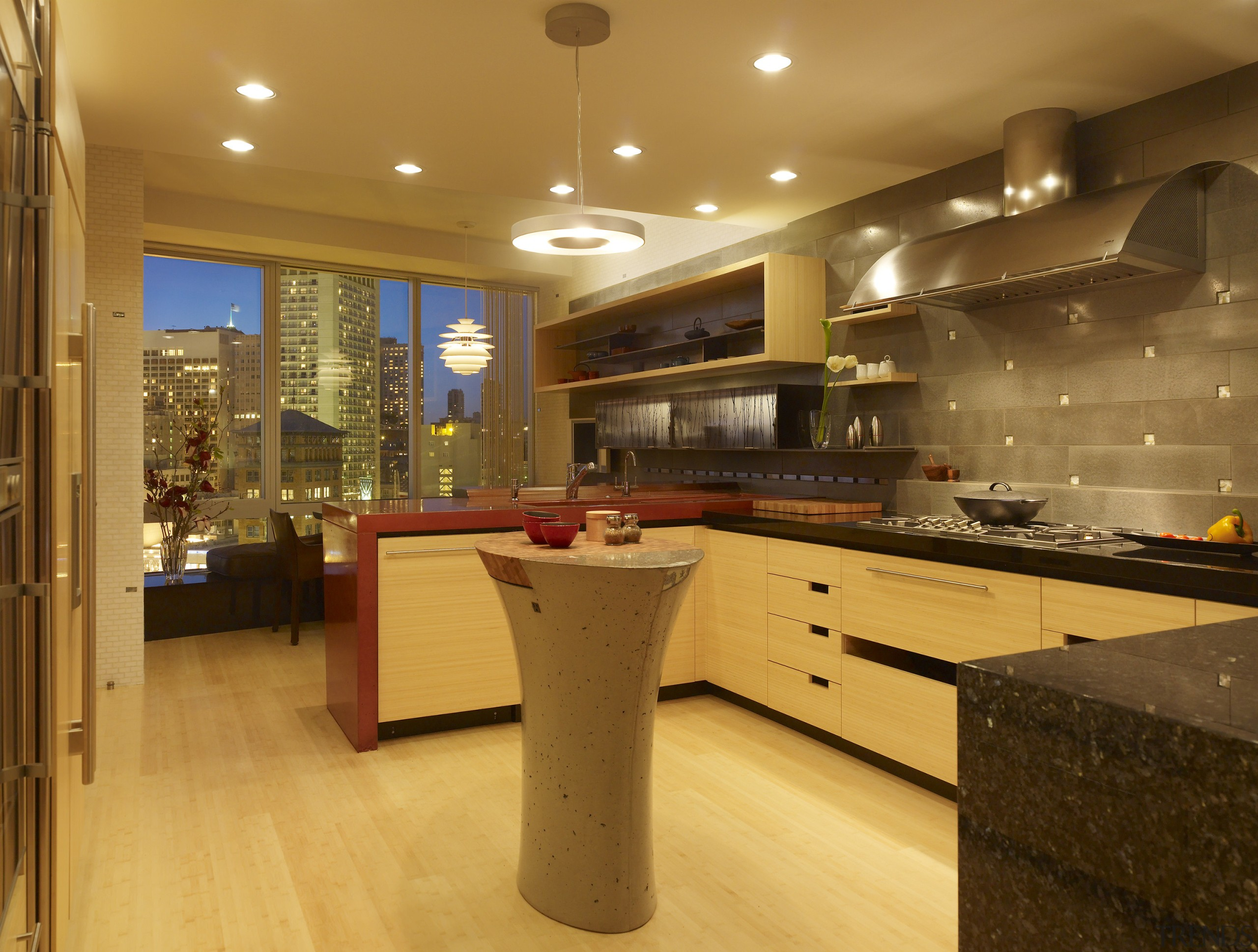 View of a remodeled kitchen with platinum grey cabinetry, ceiling, countertop, flooring, interior design, kitchen, lighting, real estate, room, under cabinet lighting, brown, orange