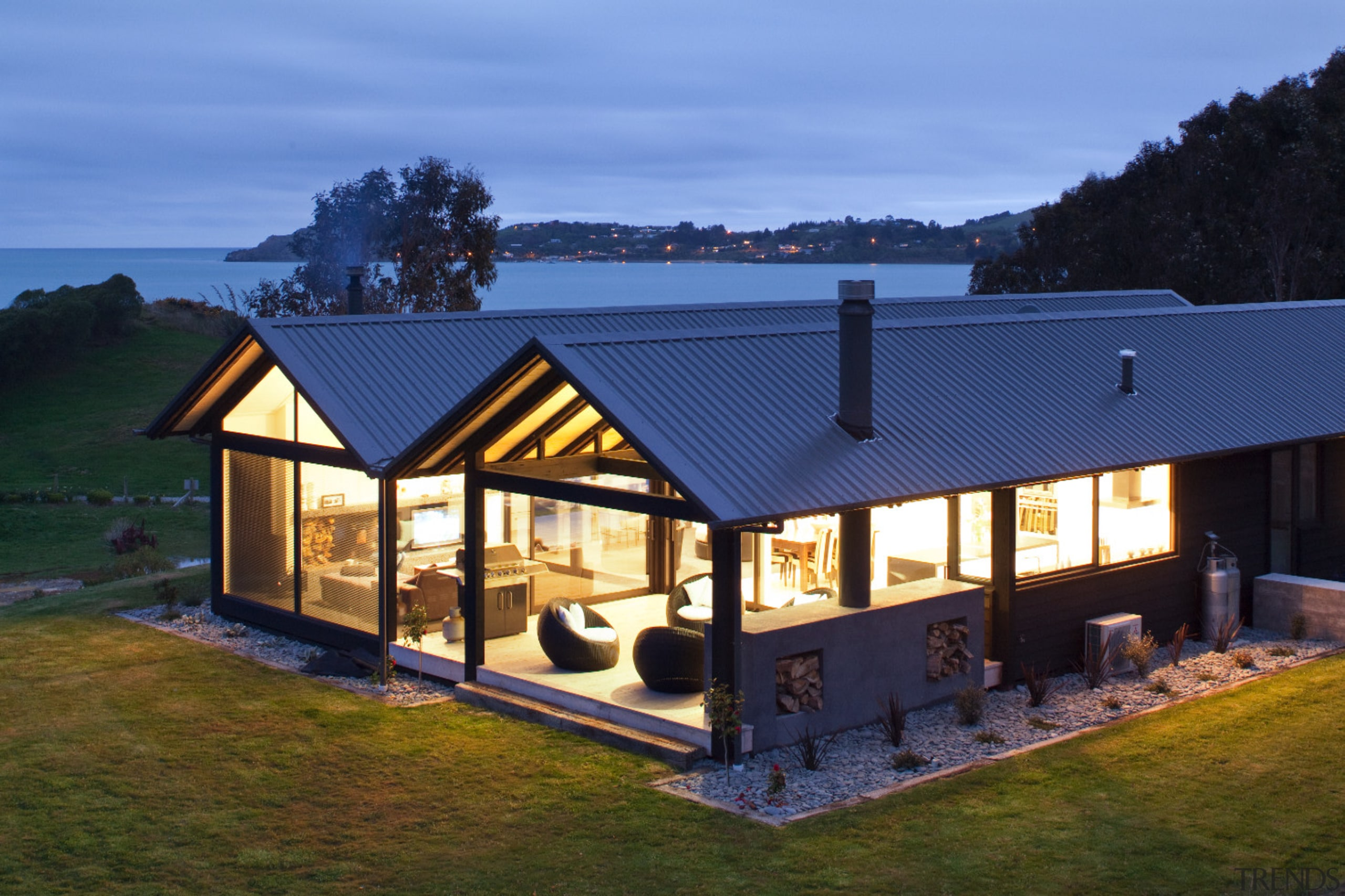 Twin-gabled holiday home near Oamaru, North Otago - cottage, estate, facade, farmhouse, home, house, property, real estate, roof, siding, window, teal