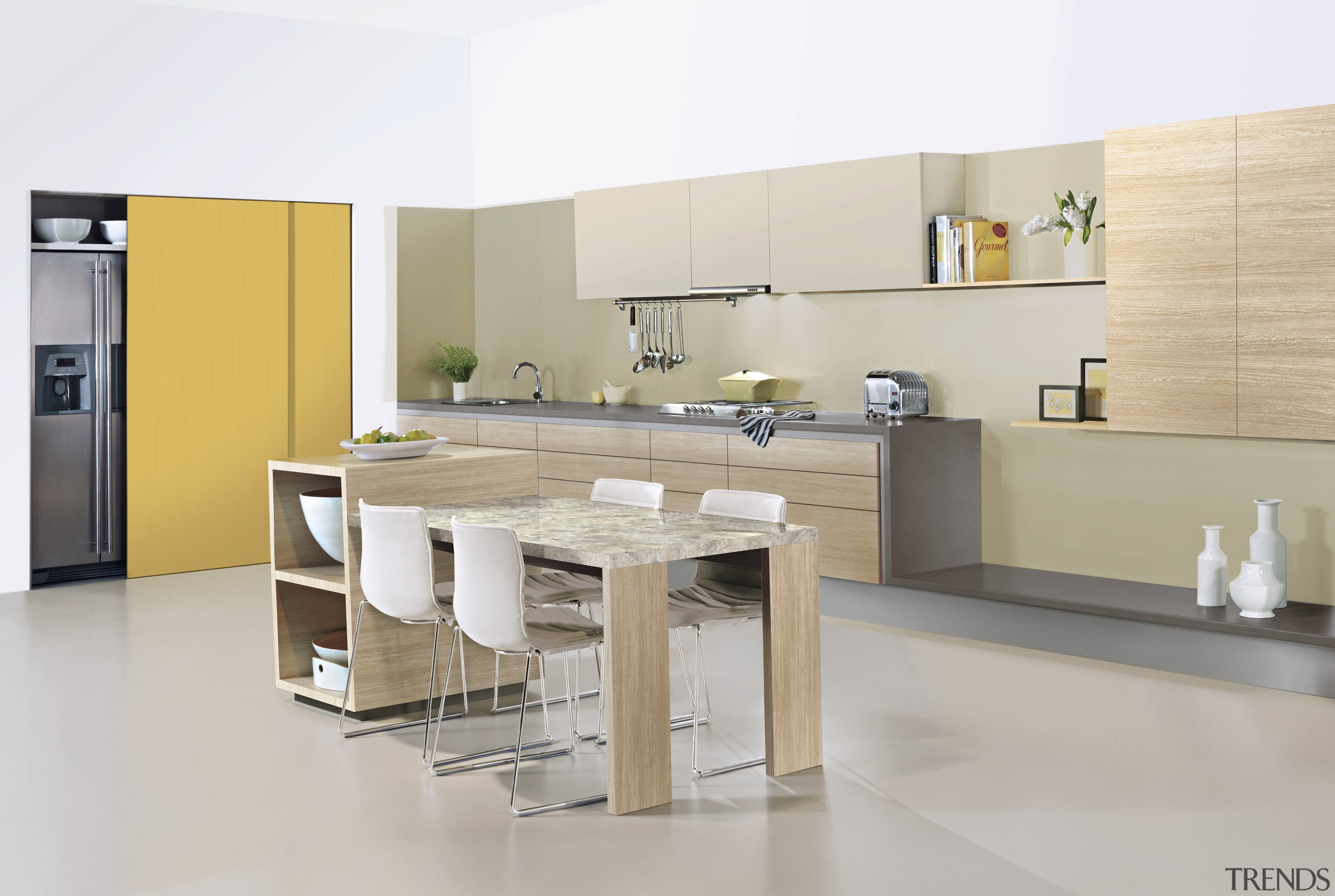 View of a contemporary kitchen which features benchtops countertop, cuisine classique, floor, flooring, furniture, interior design, kitchen, product, product design, table, tile, gray