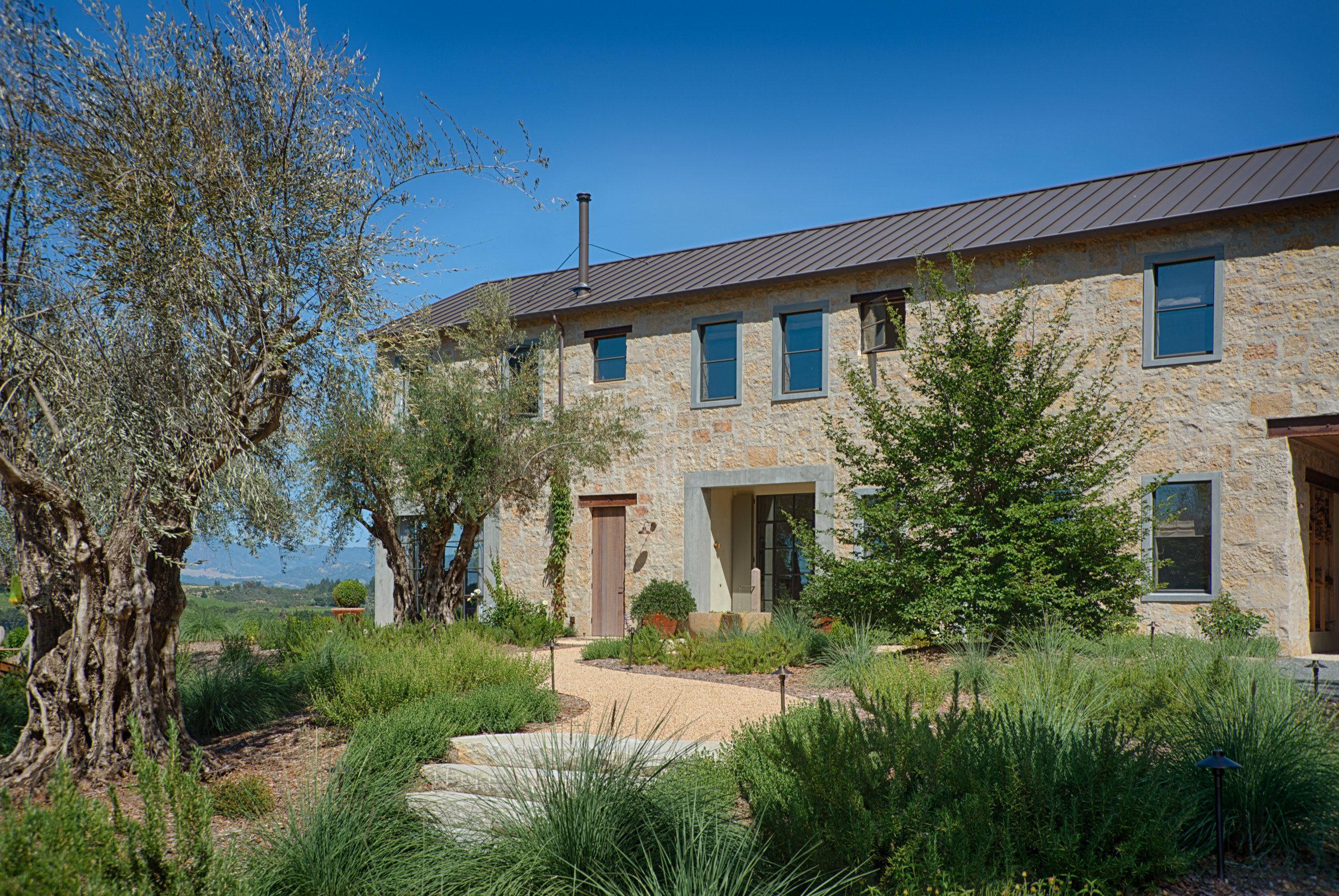 Ancient olive trees on the approach to the cottage, estate, facade, farmhouse, home, house, property, real estate, residential area, sky, villa, window