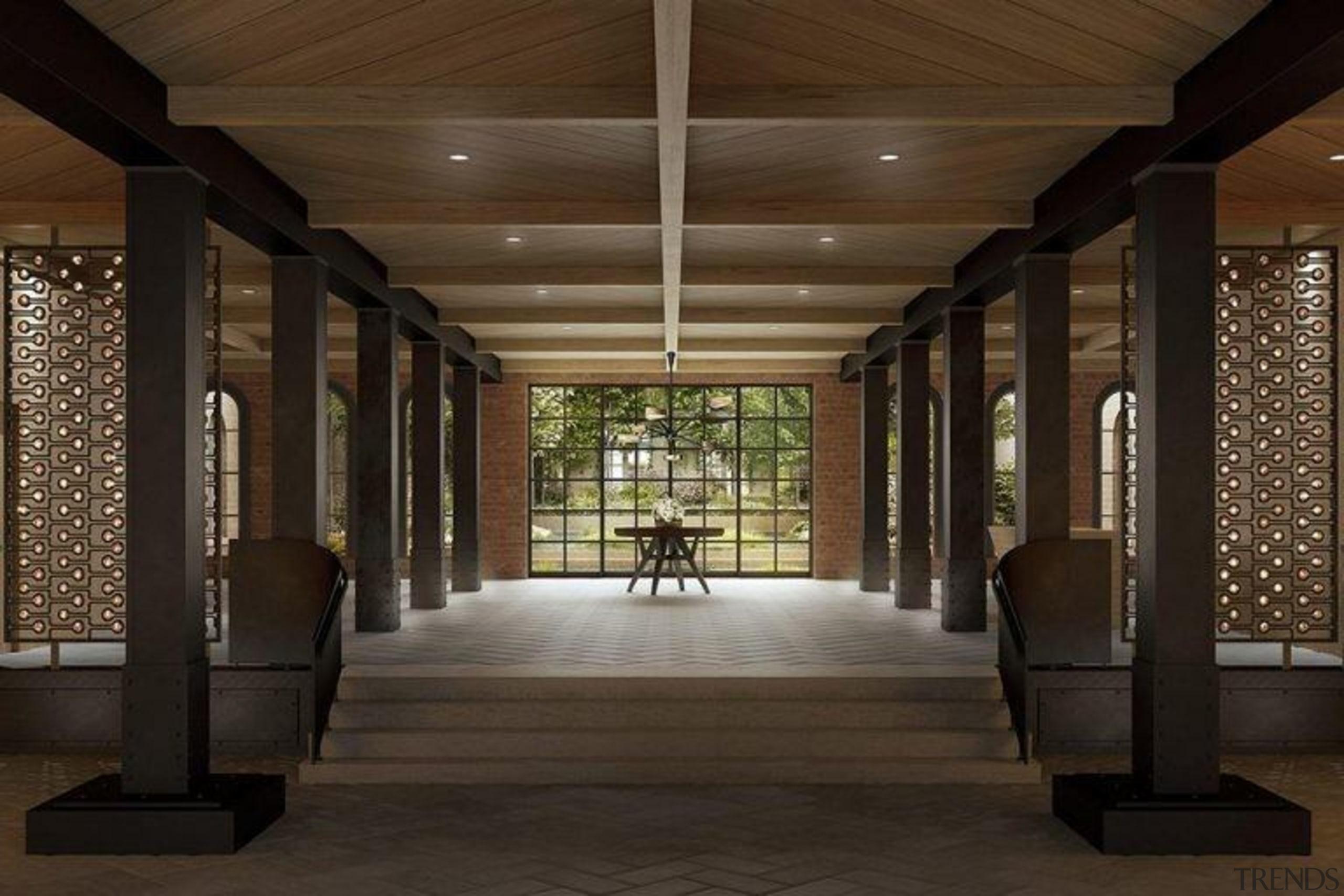 Original story from Trulia ceiling, interior design, lobby, brown, black