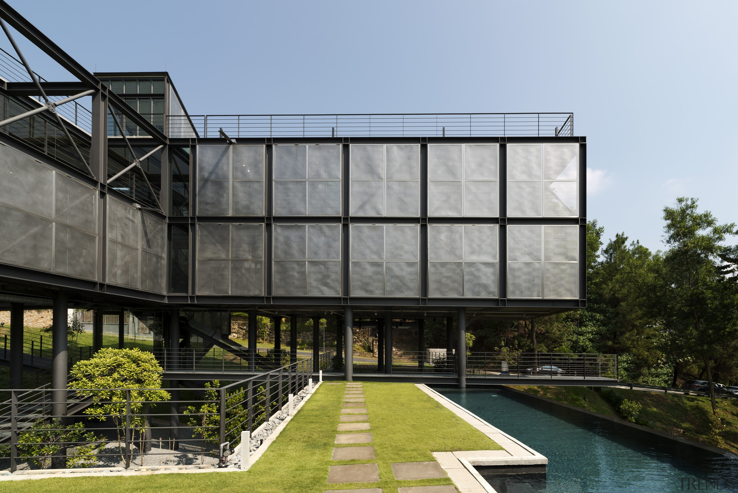 Perforated steel sunscreens create an outer skin but architecture, building, corporate headquarters, facade, house, reflection, black