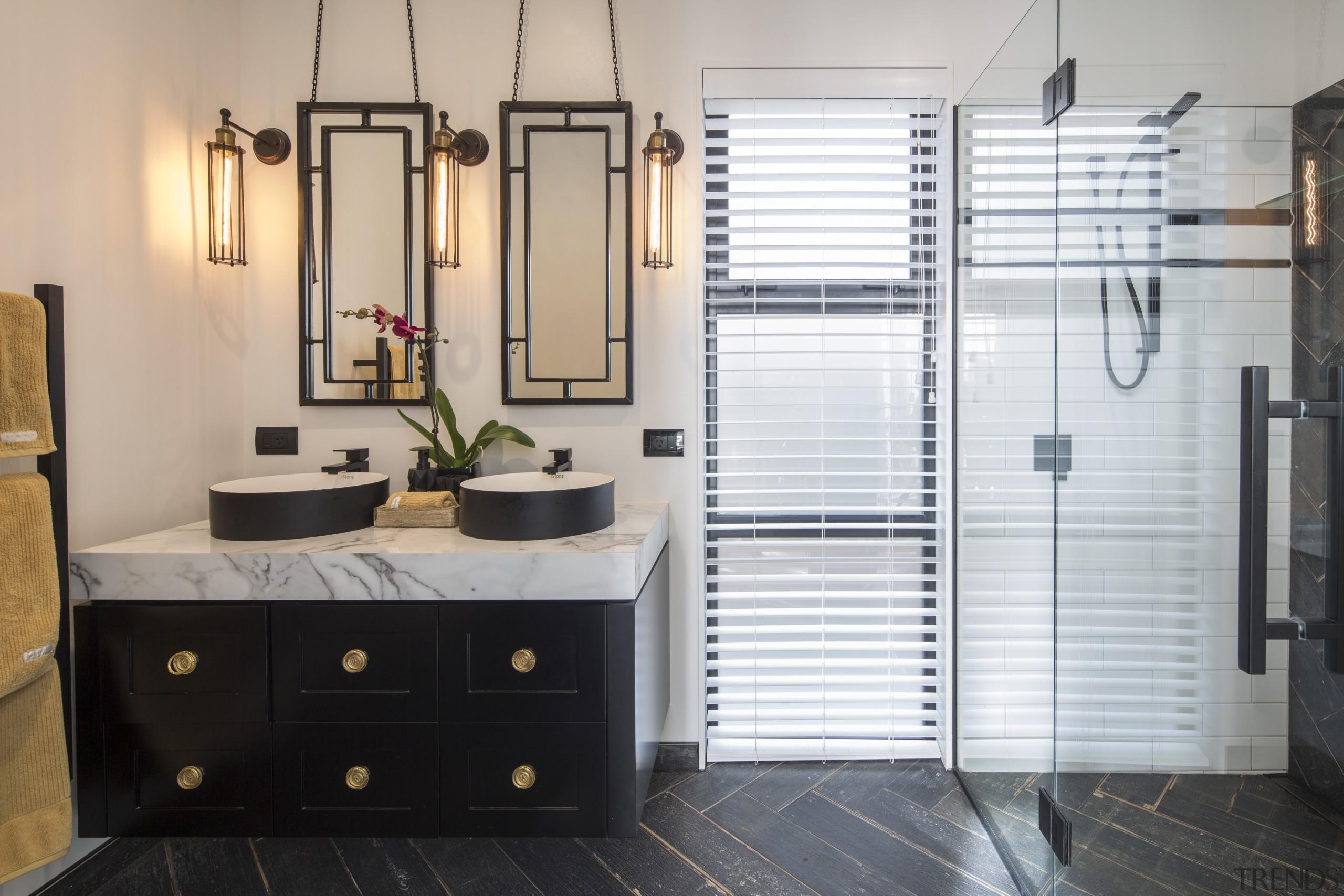 This his-and-hers ensuite vanity was custom designed by bathroom, floor, flooring, interior design, room, gray