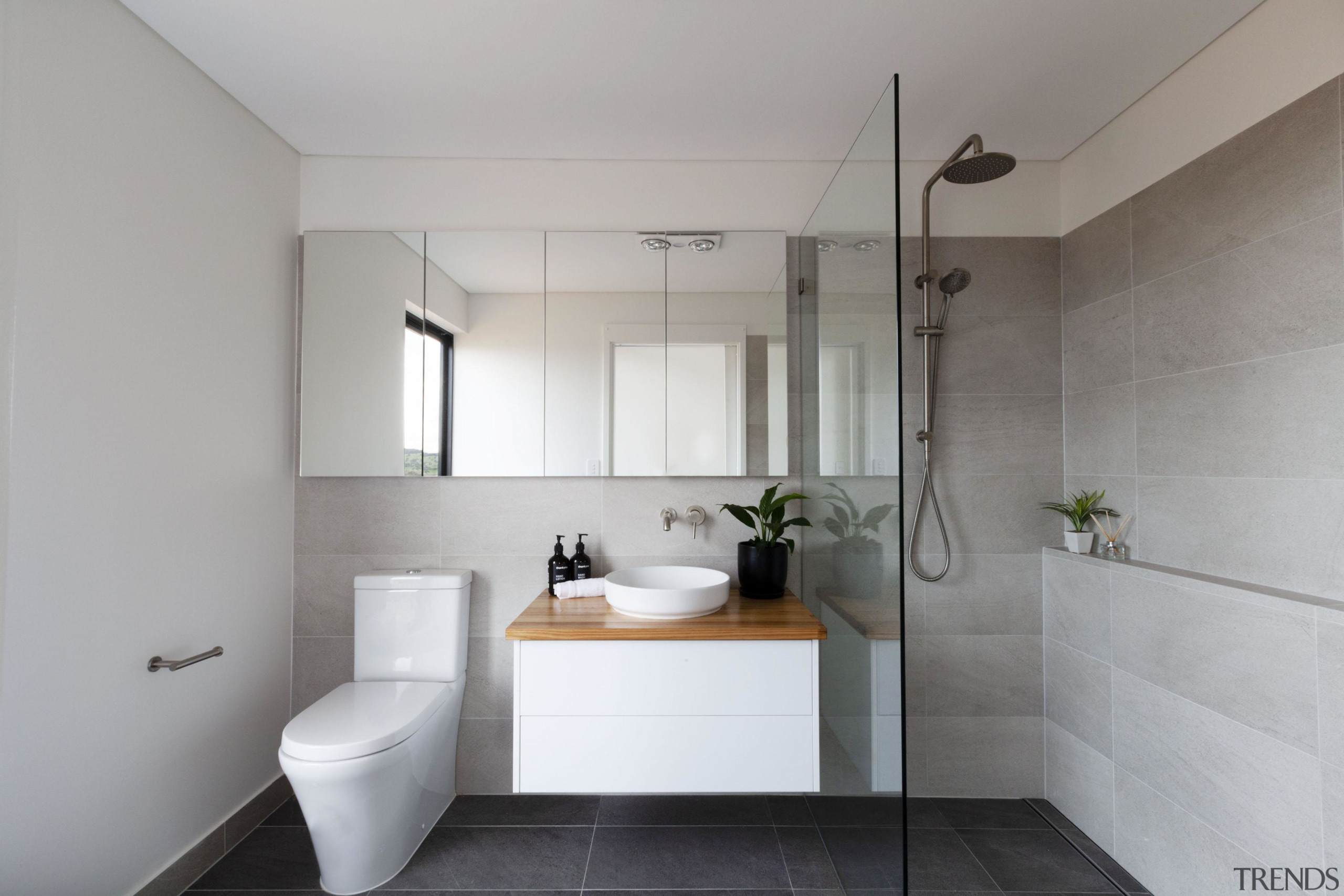 The home's light-toned main bathroom. - House on