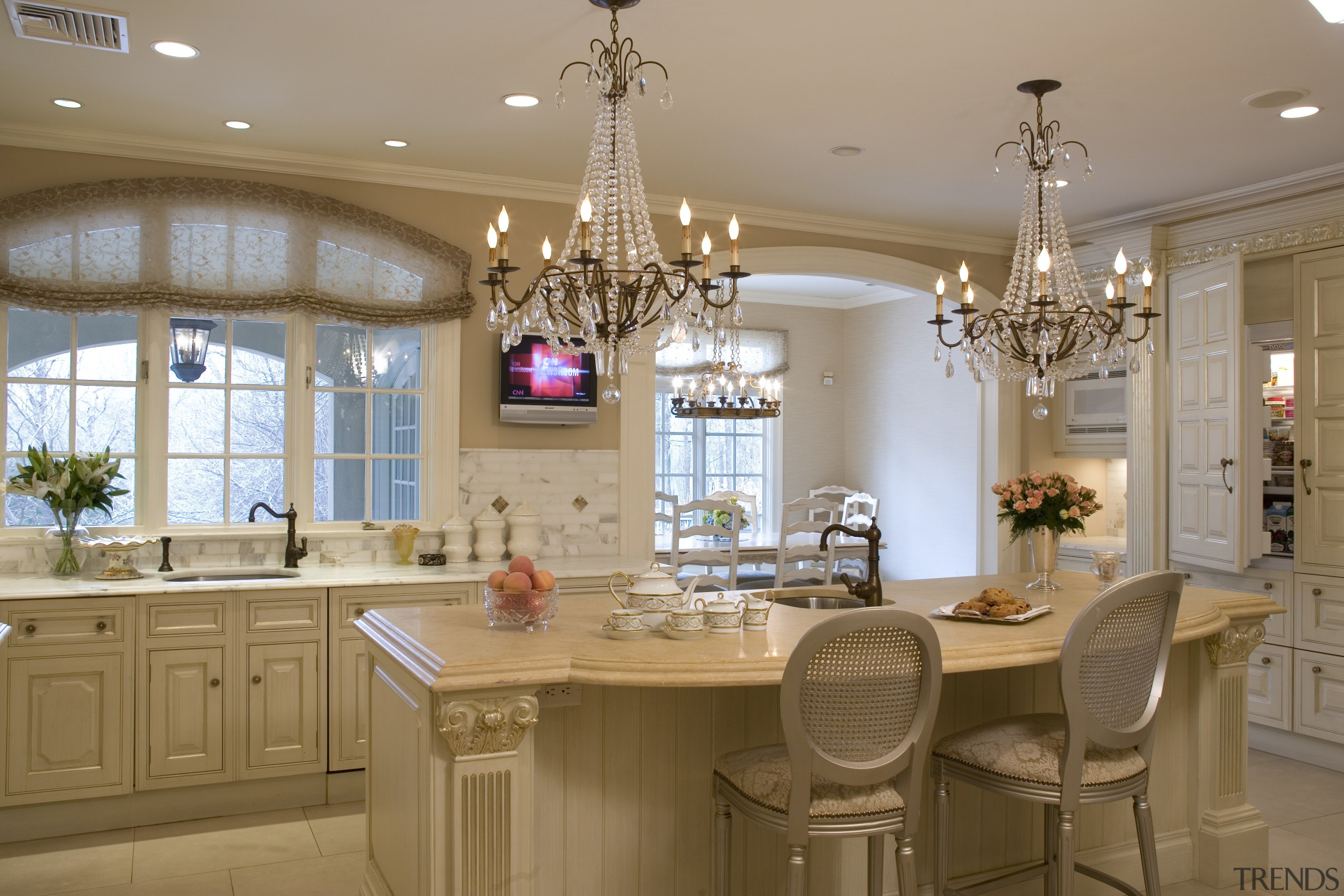 A calacutta marble tiled splashback and matching countertops cabinetry, ceiling, countertop, cuisine classique, dining room, estate, home, interior design, kitchen, room, brown