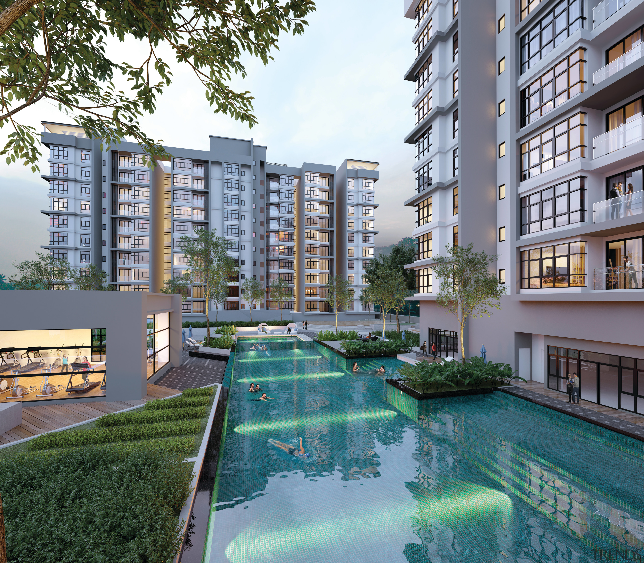 Lifestyle amenities for owners of the serviced apartments apartment, architecture, building, condominium, estate, metropolitan area, mixed use, neighbourhood, property, real estate, reflection, residential area, swimming pool, tower block, urban design, gray