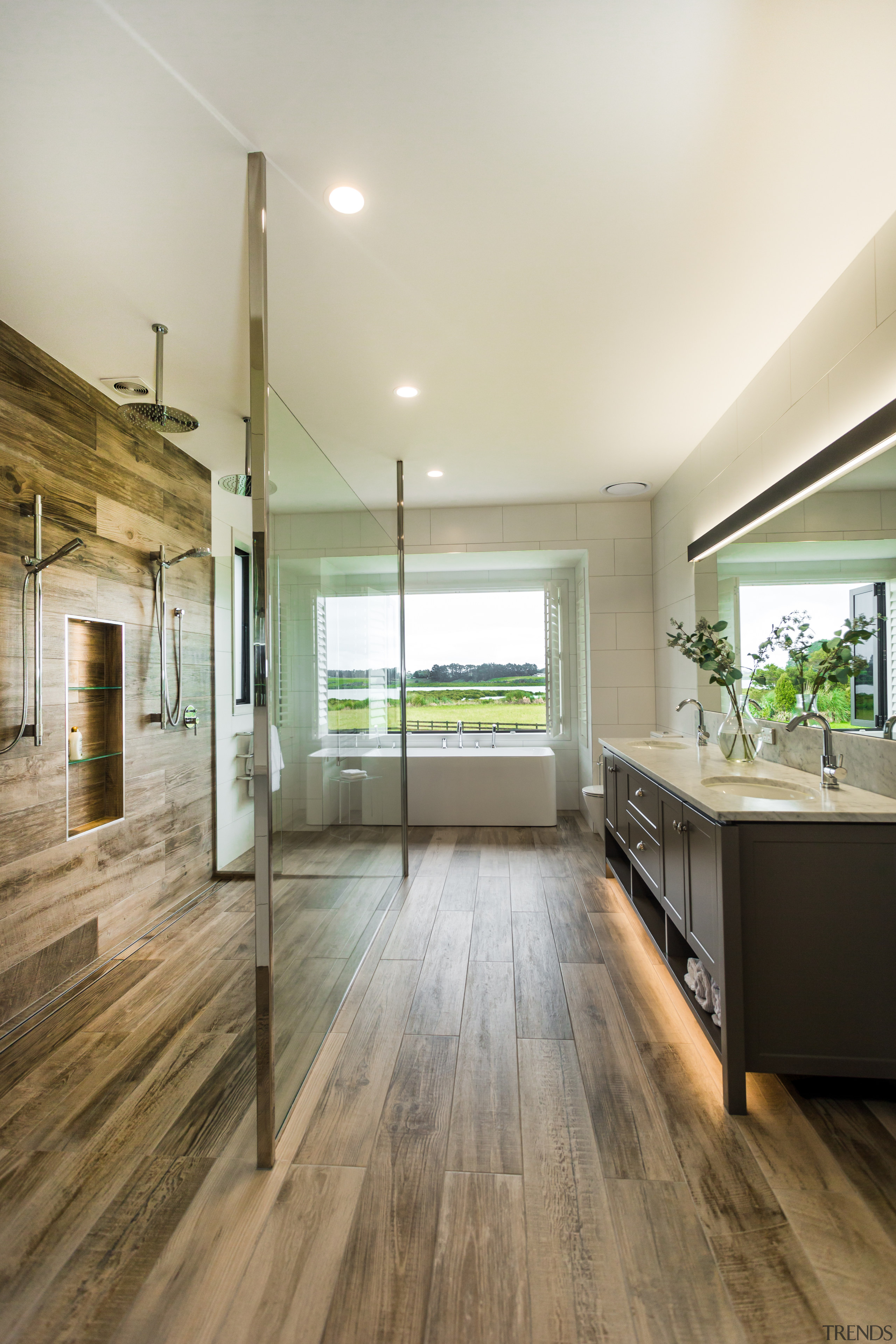 Wood-look ceramic floor tiles run the length of architecture, floor, flooring, ceramic tiles, yellowfox, vanity