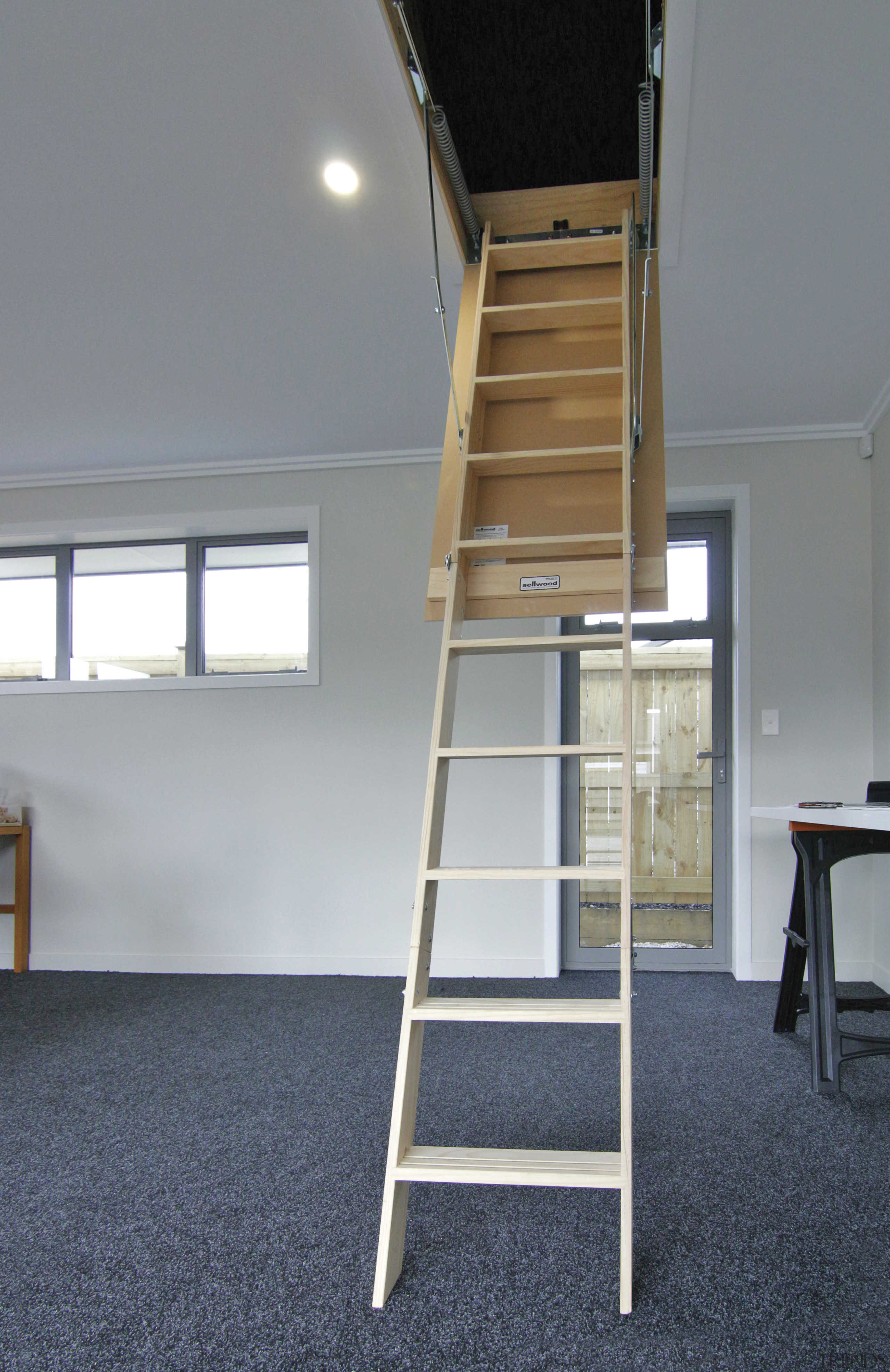 Dedicated storage is a feature of this Fowler ladder, gray