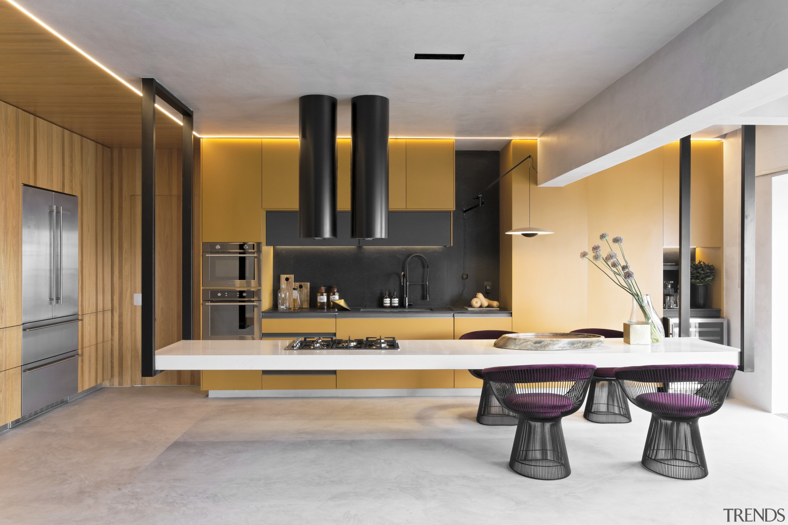 Innovation – and levitation! – defines this kitchen, architecture, bathroom, building, cabinetry, ceiling, countertop, floor, flooring, furniture, home, house, interior design, living room, material property, property, room, sink, table, tap, tile, gray