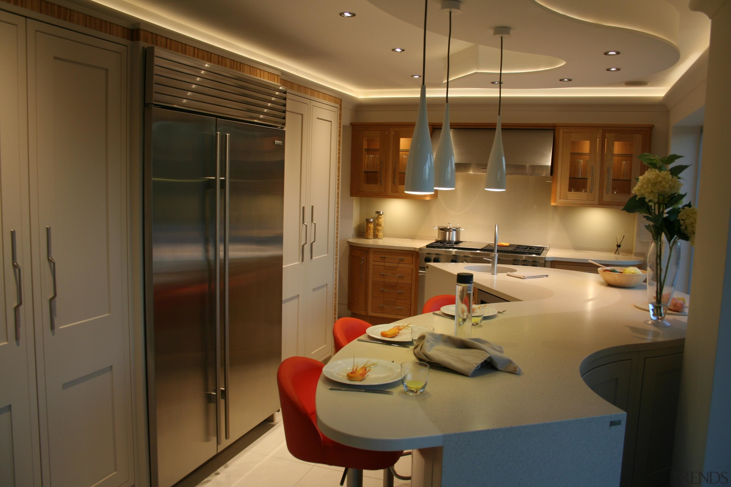 Recessed lighting, pendant lights and cabinet lighting really cabinetry, countertop, interior design, kitchen, room, brown