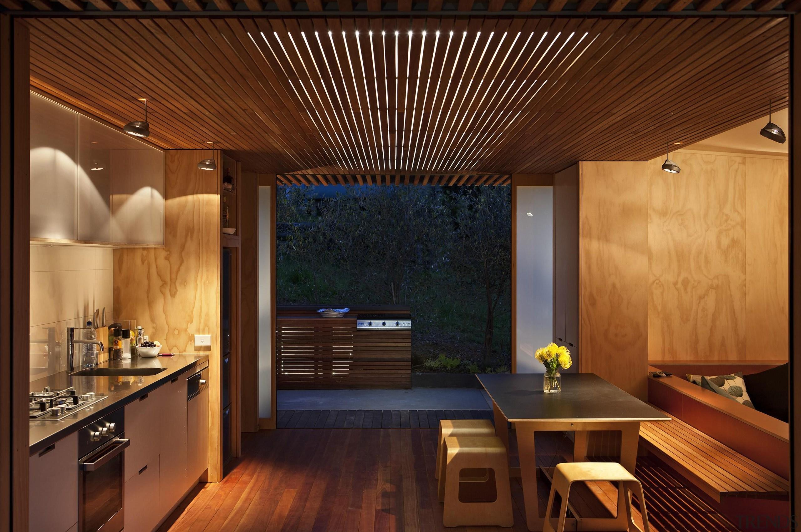 Coromandel, New Zealand - Studio 19 Onemana Bach architecture, ceiling, countertop, house, interior design, lighting, real estate, wood, brown
