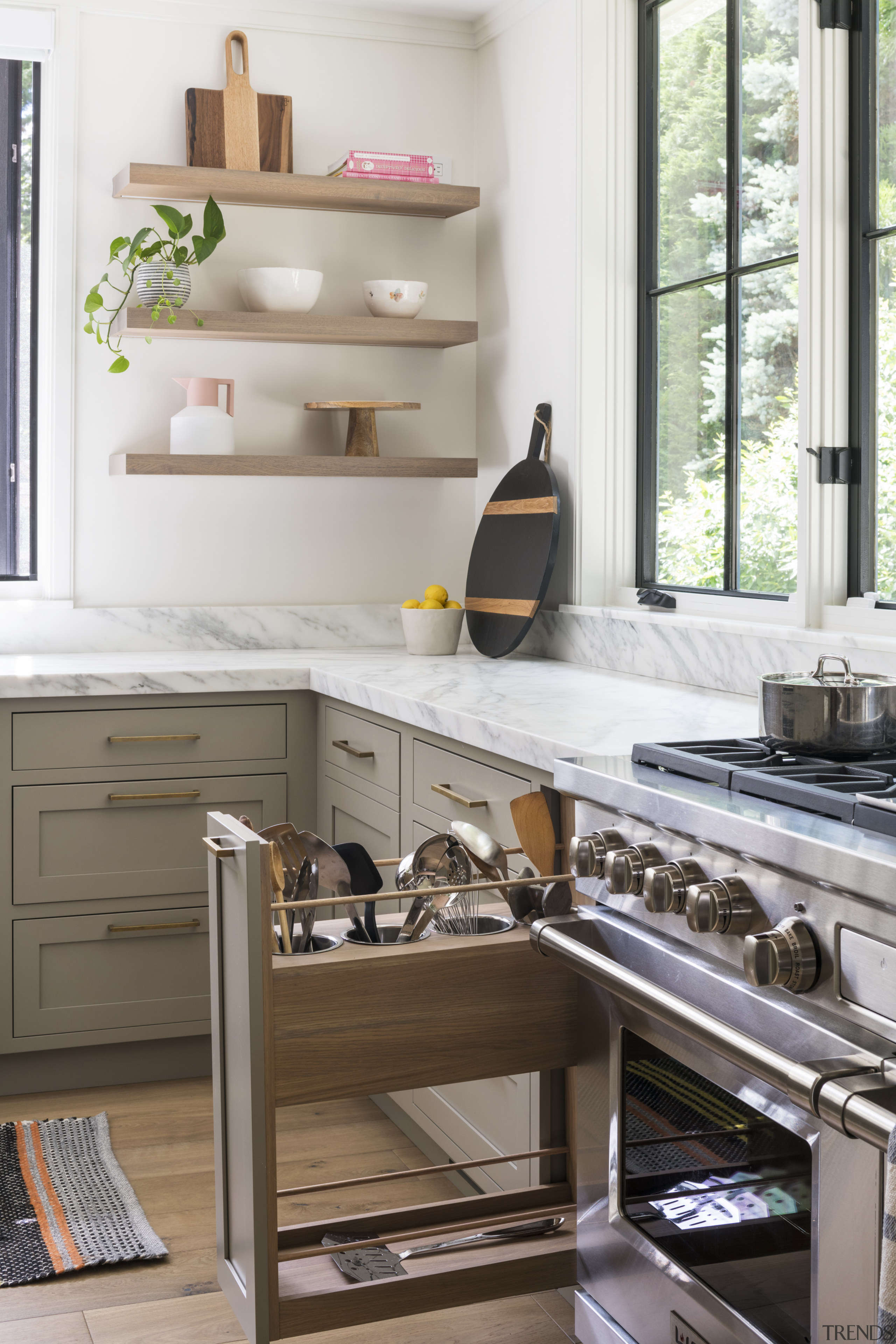 Slotted storage ups the functionality in this kitchen.