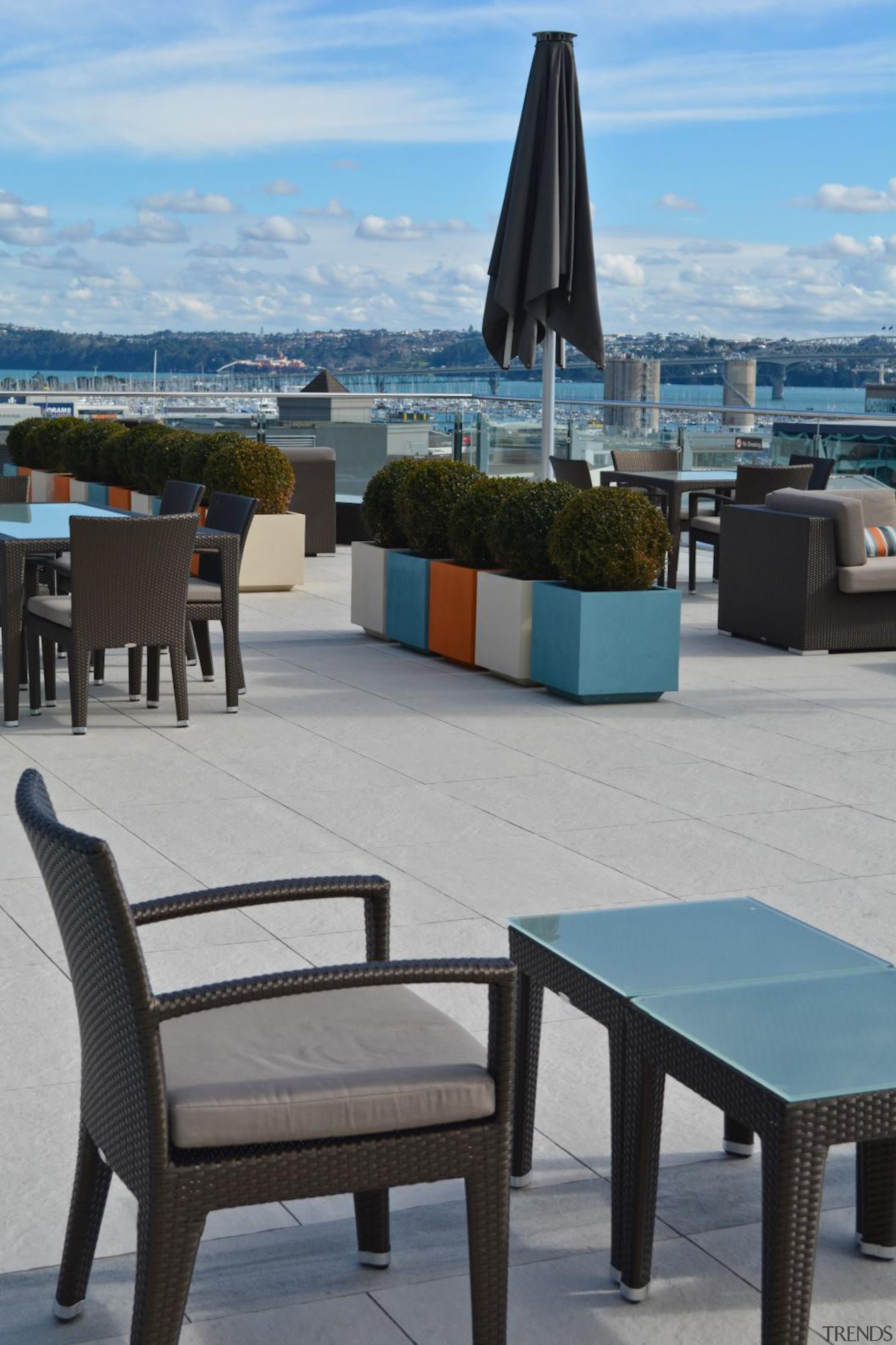 RAK Stone series outdoor tiles here in 600x900x20mm chair, furniture, outdoor furniture, sunlounger, table, gray
